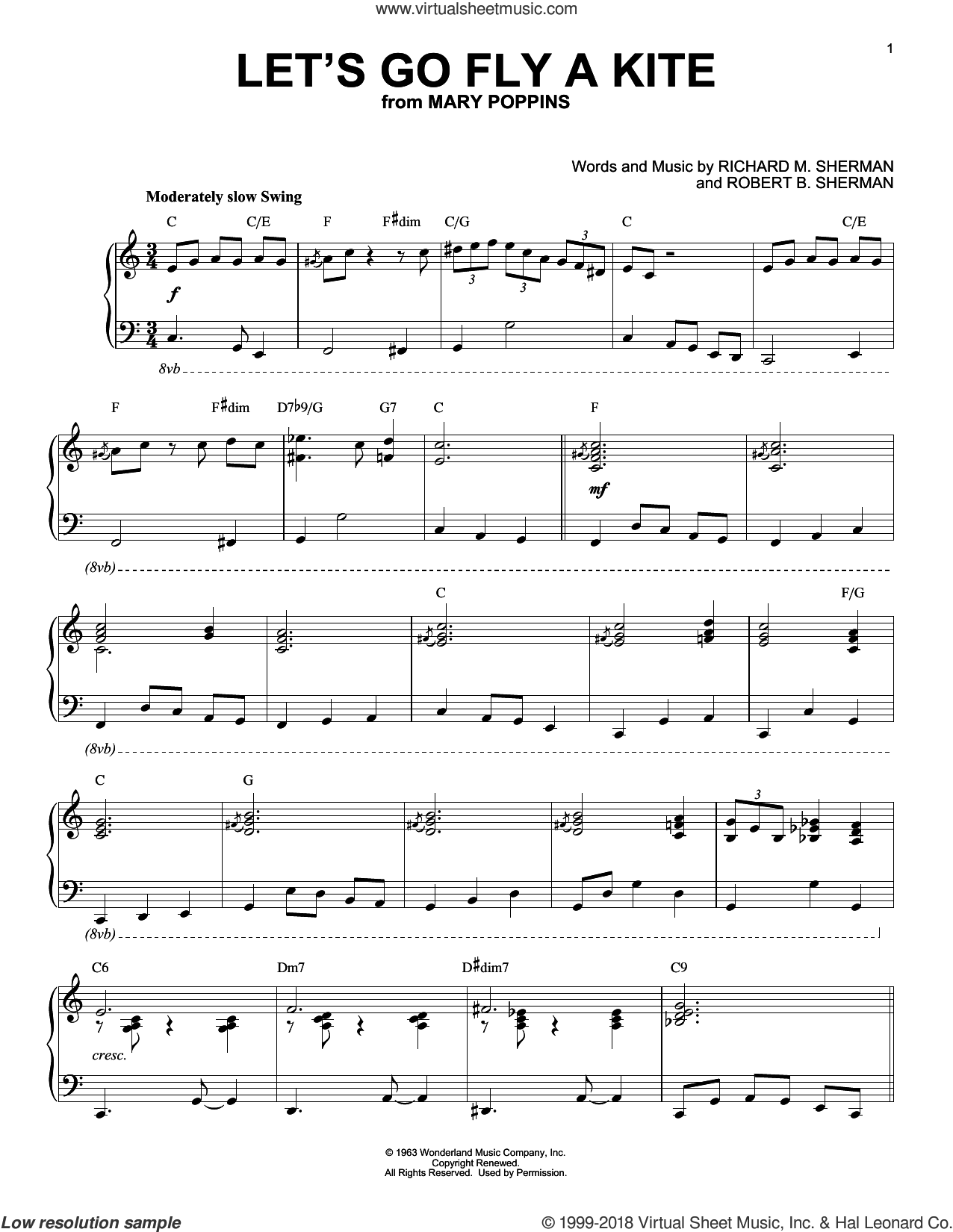 Let's Go Fly A Kite [Jazz version] (from Mary Poppins) sheet music for piano solo by Robert B. Sherman, Sherman Brothers and Richard M. Sherman, intermediate skill level