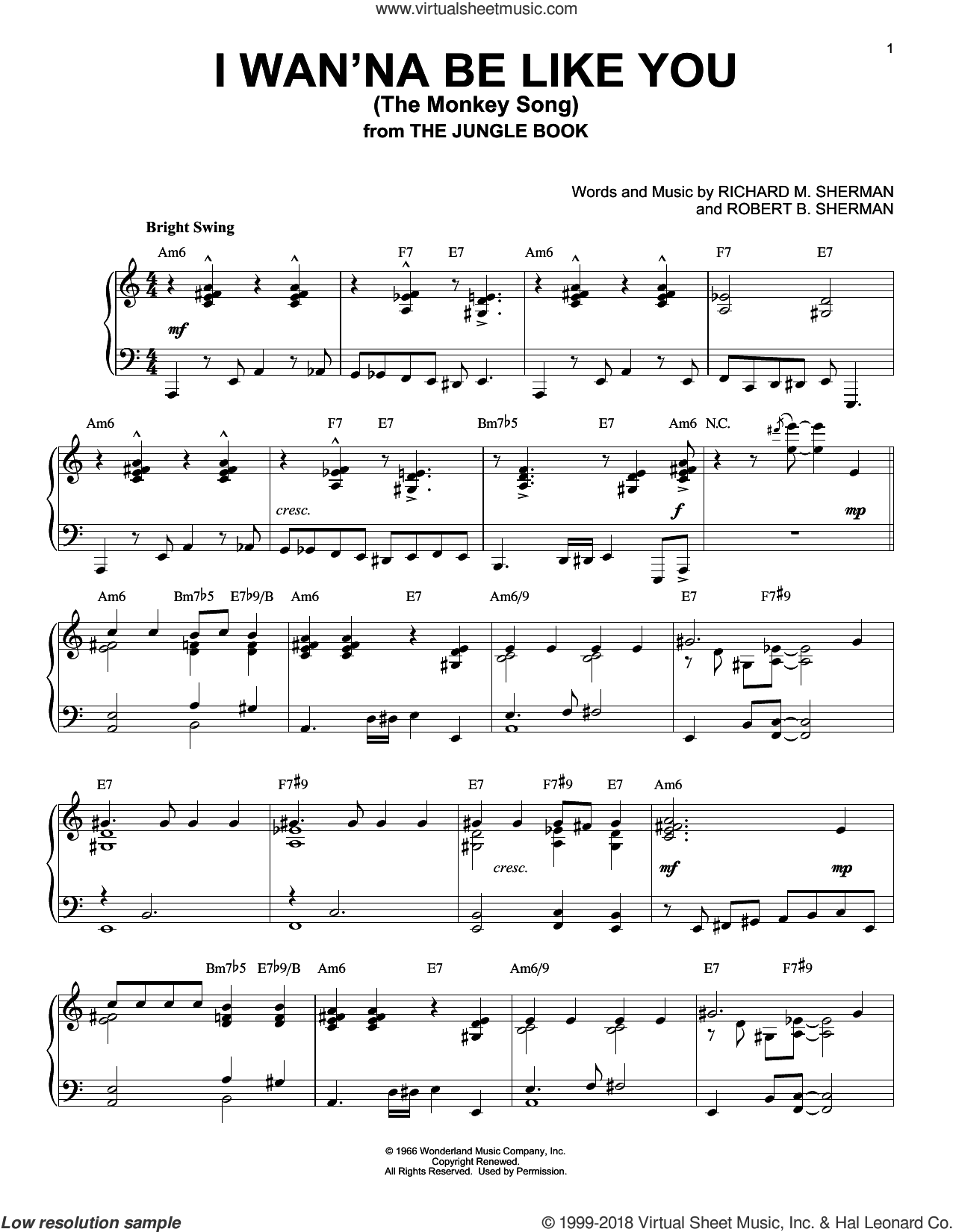 I Wan'na Be Like You (The Monkey Song) [Jazz version] (from The Jungle Book) sheet music for piano solo by Robert B. Sherman and Richard M. Sherman, intermediate skill level