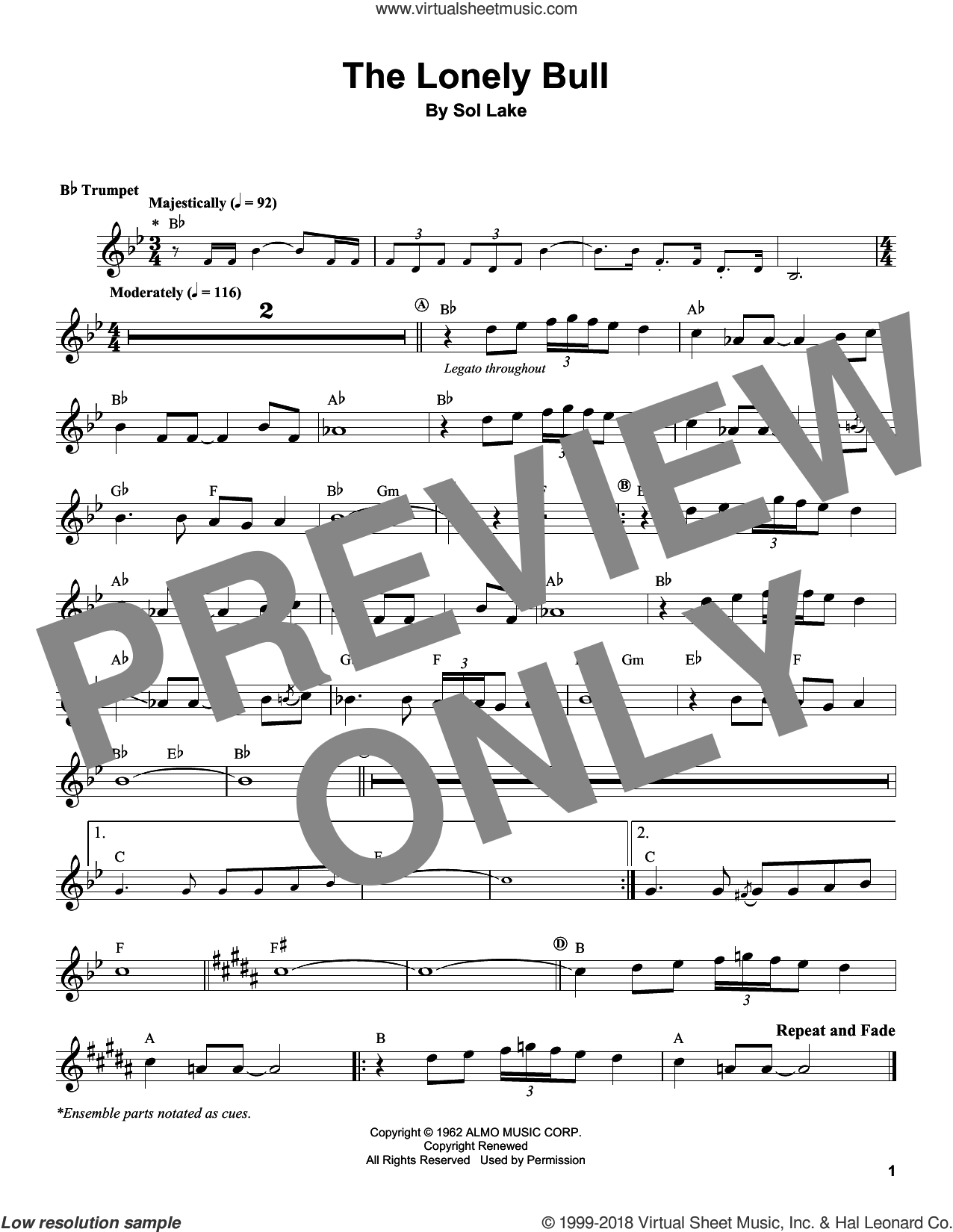 The Lonely Bull sheet music for trumpet solo (transcription) by Herb Alpert and Sol Lake, intermediate trumpet (transcription)