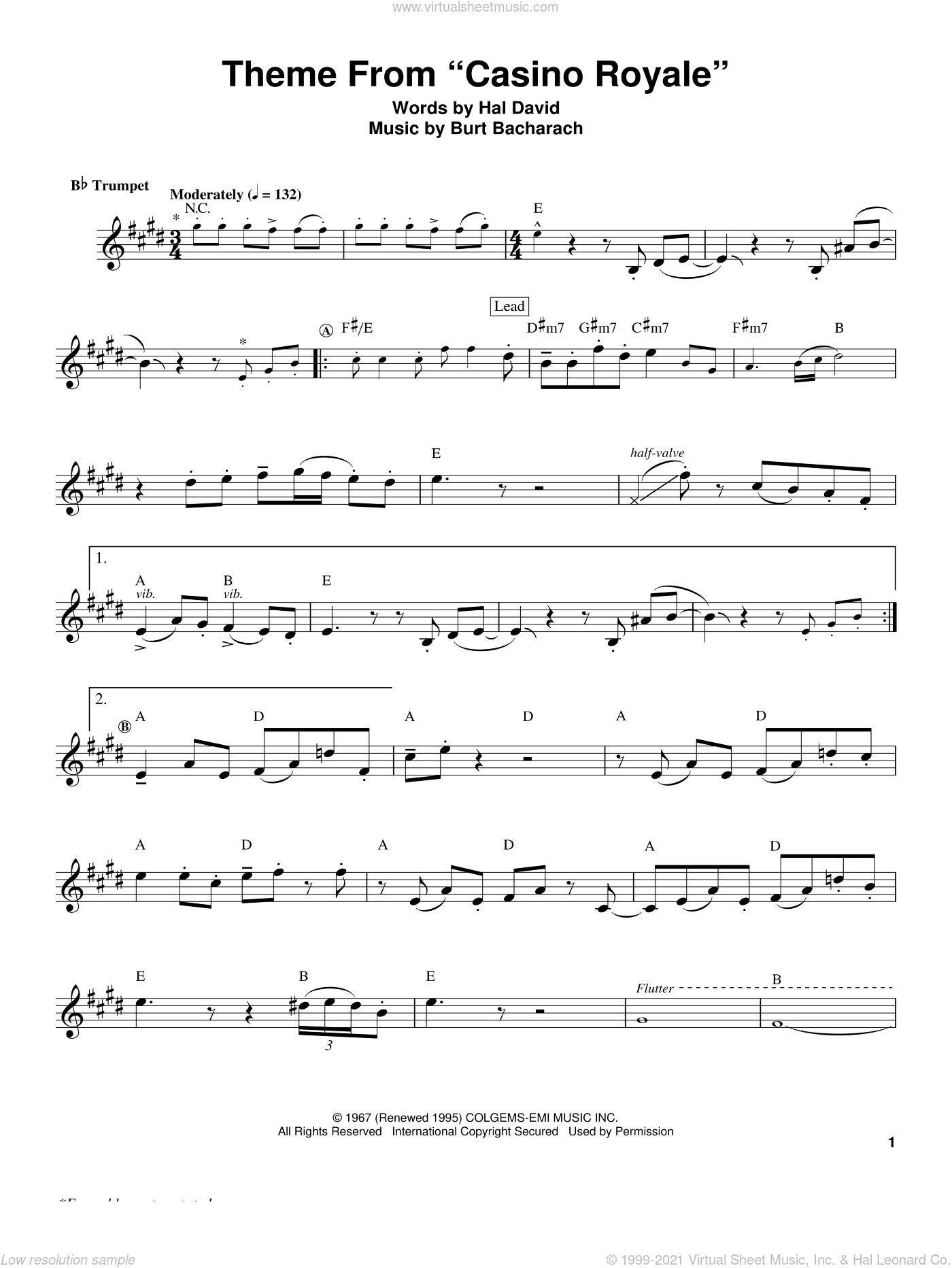 Theme From 'Casino Royale' sheet music for trumpet solo (transcription) by Herb Alpert, Burt Bacharach and Hal David, intermediate trumpet (transcription)