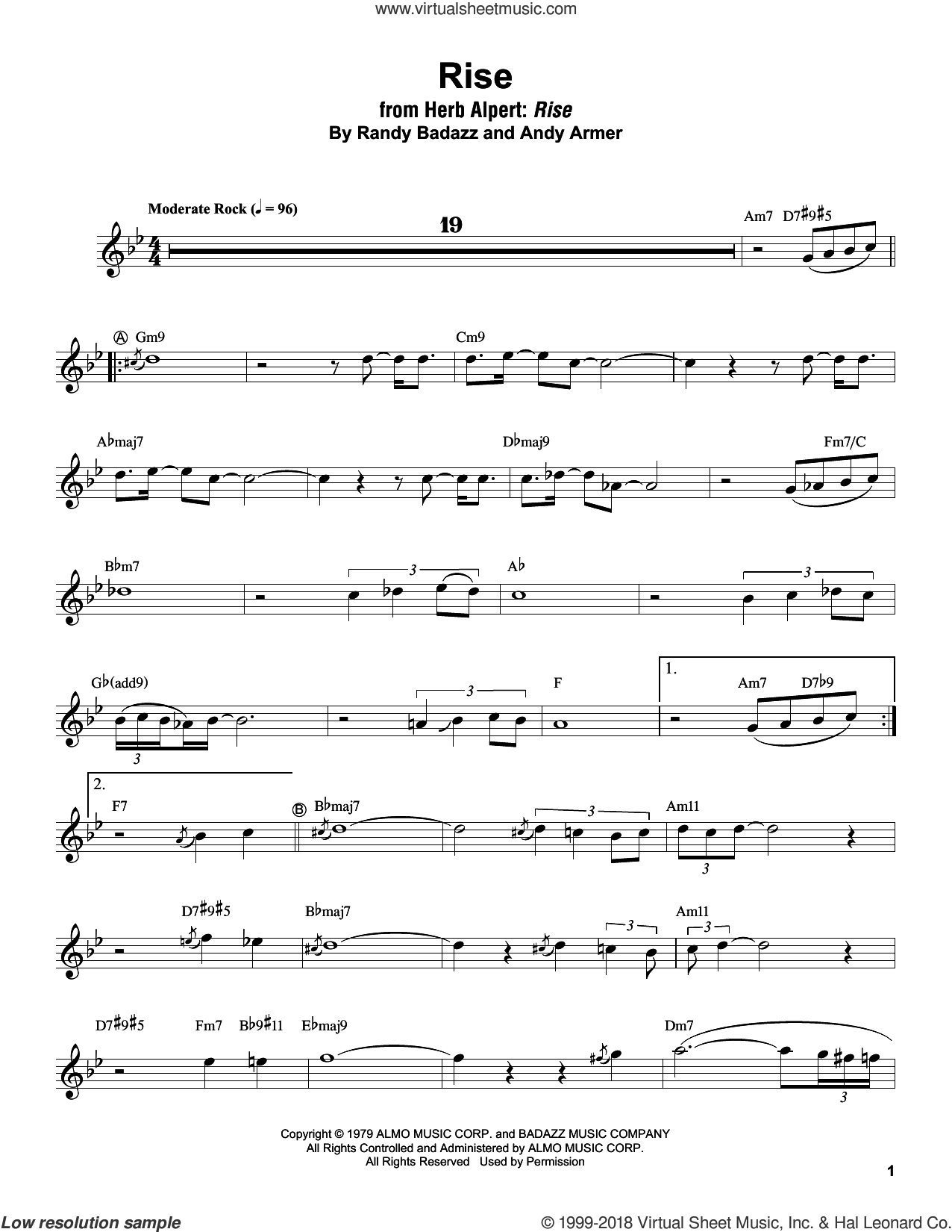 Rise sheet music for trumpet solo (transcription) by Herb Alpert, Andy Armer and Randy Badazz, intermediate trumpet (transcription)