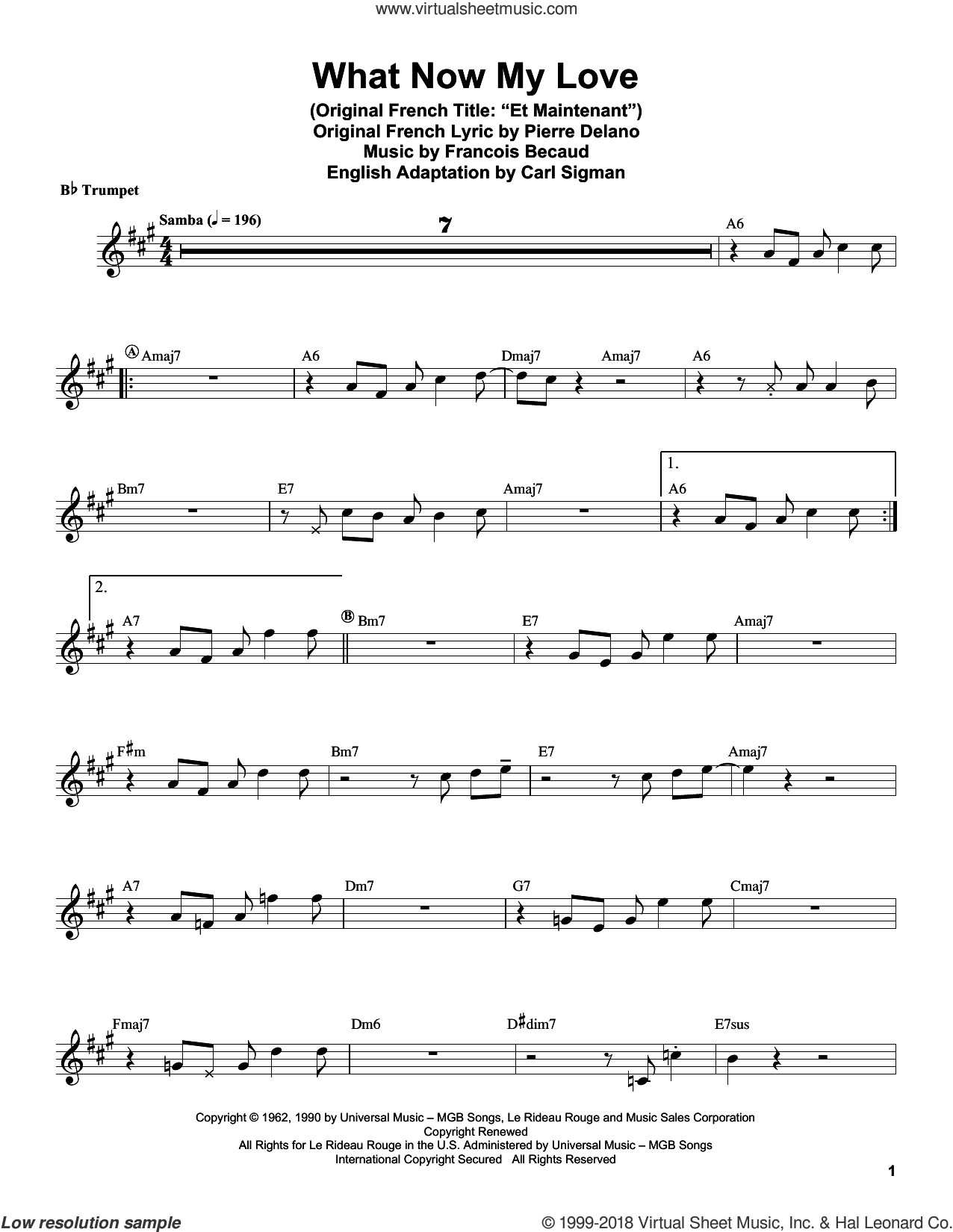What Now My Love sheet music for trumpet solo (transcription) by Herb Alpert, Carl Sigman, Francois Becaud and Pierre Delanoe, intermediate trumpet (transcription)