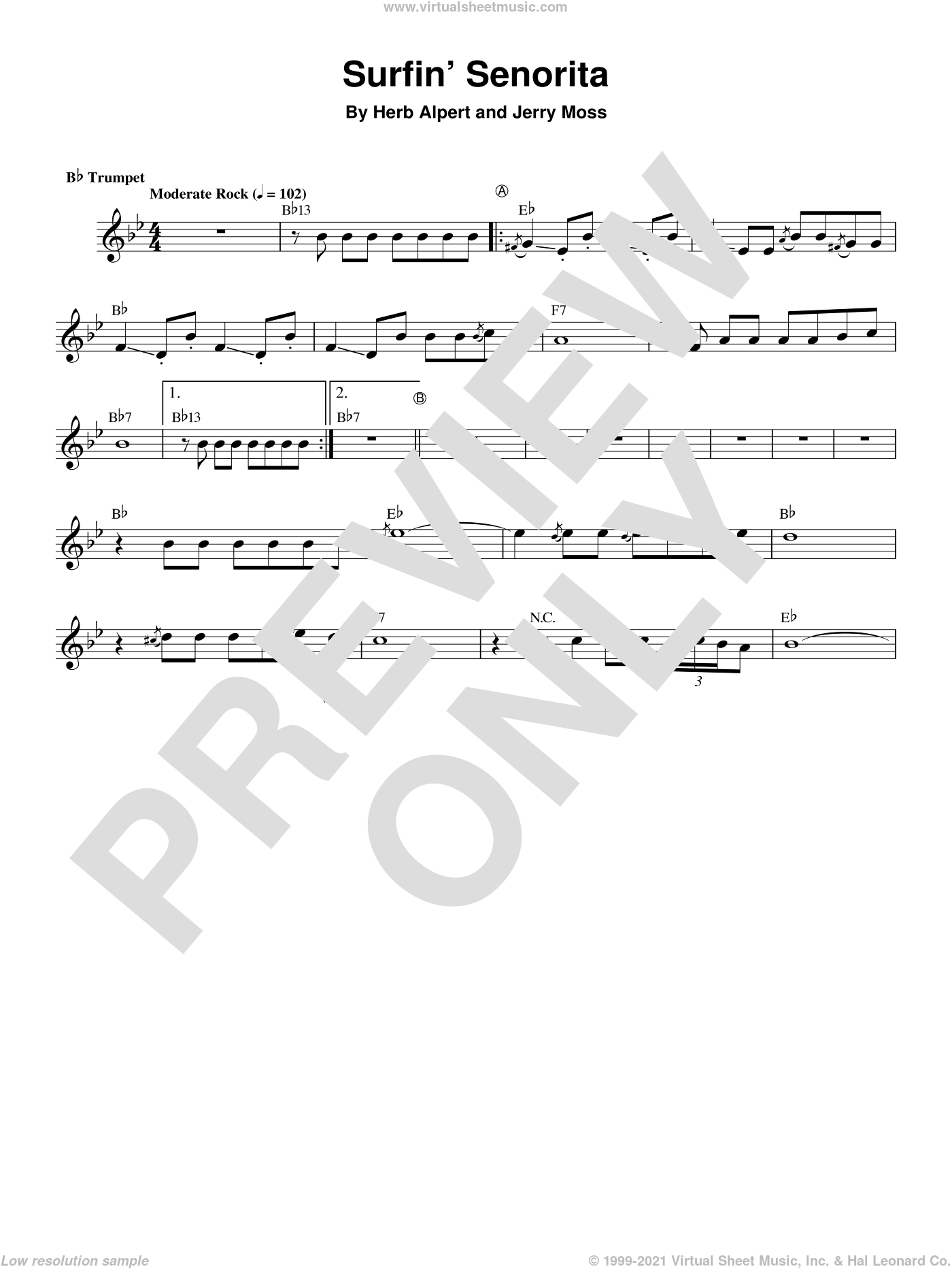 Surfin' Senorita sheet music for trumpet solo (transcription) by Herb Alpert and Jerry Moss, intermediate trumpet (transcription)