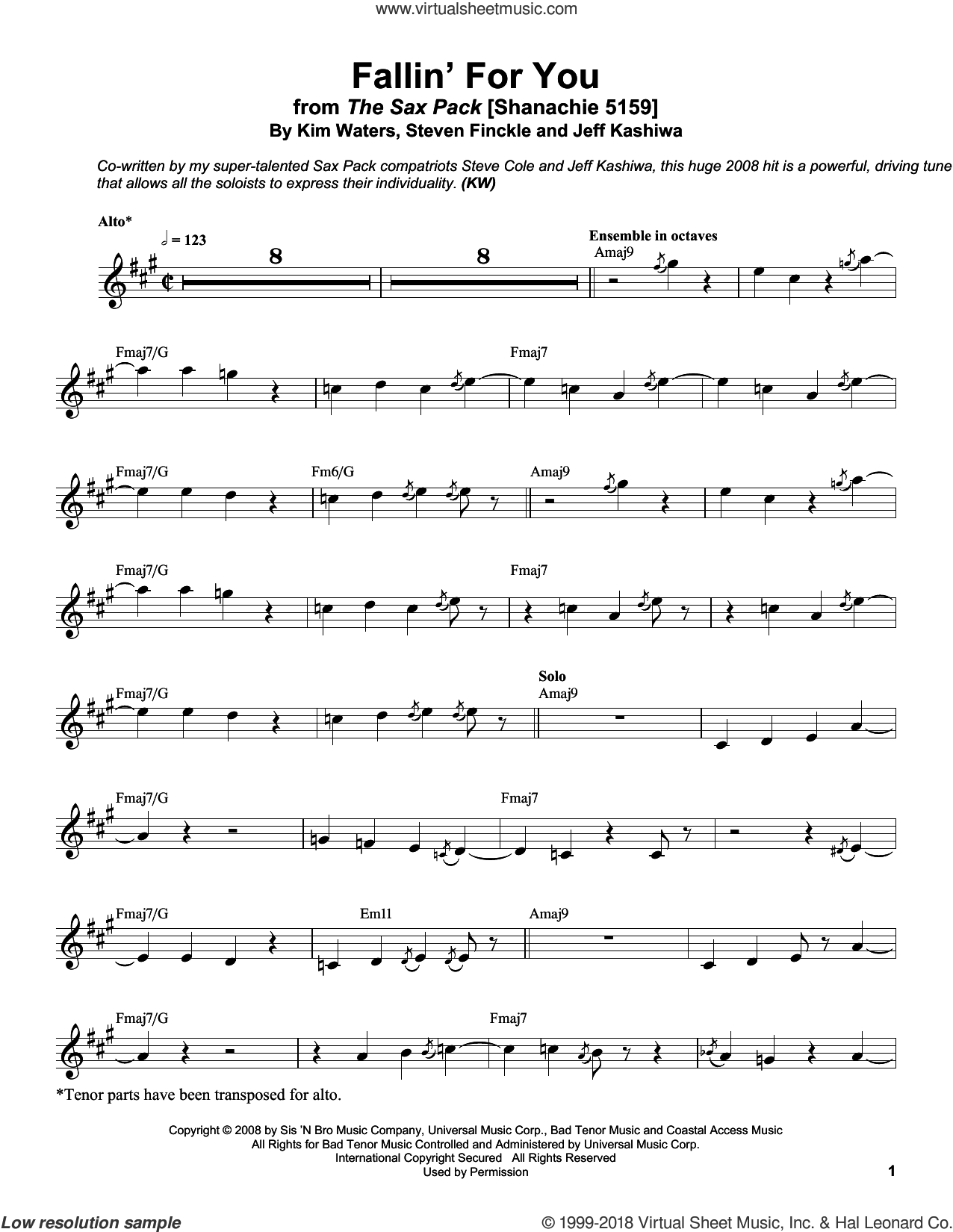 Fallin' For You sheet music for alto saxophone (transcription) by Kim Waters, Jeff Kashiwa and Steven Finckle, intermediate skill level