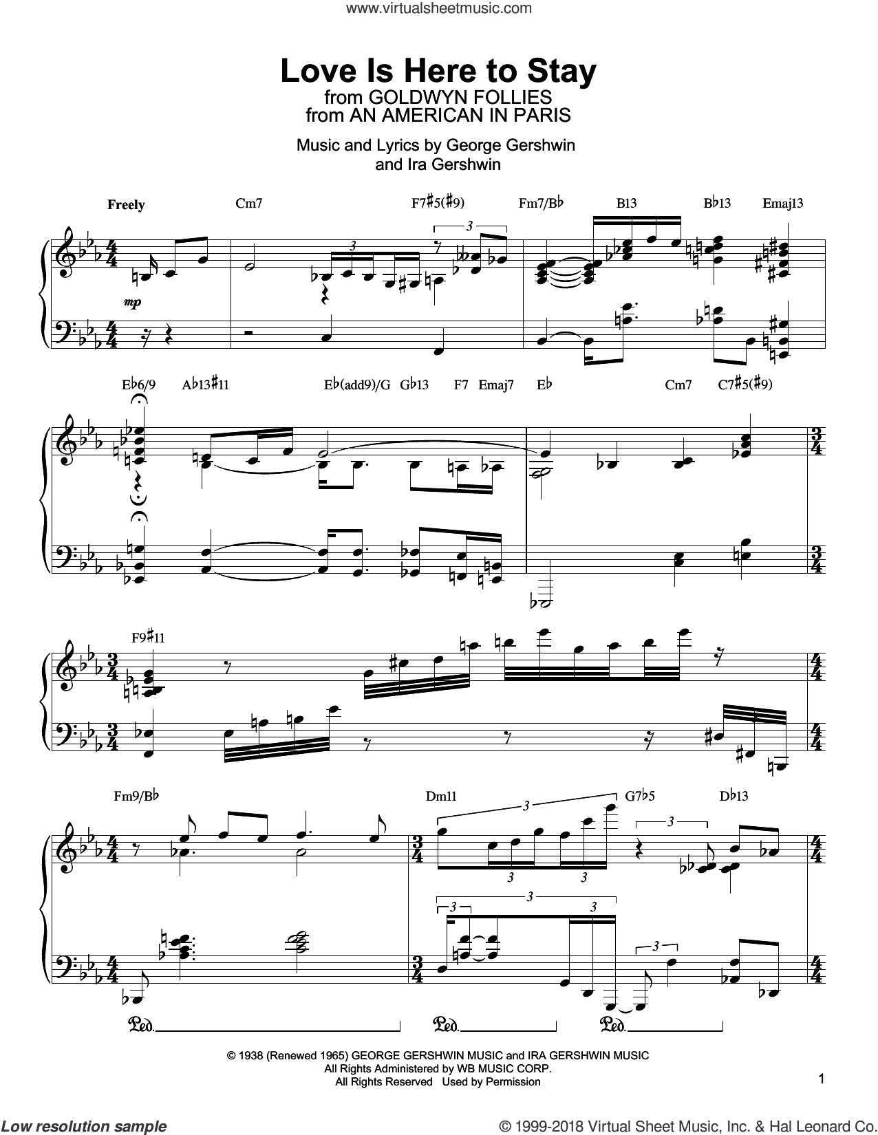 Love Is Here To Stay sheet music for piano solo (transcription) by Oscar Peterson, George Gershwin and Ira Gershwin, intermediate piano (transcription)