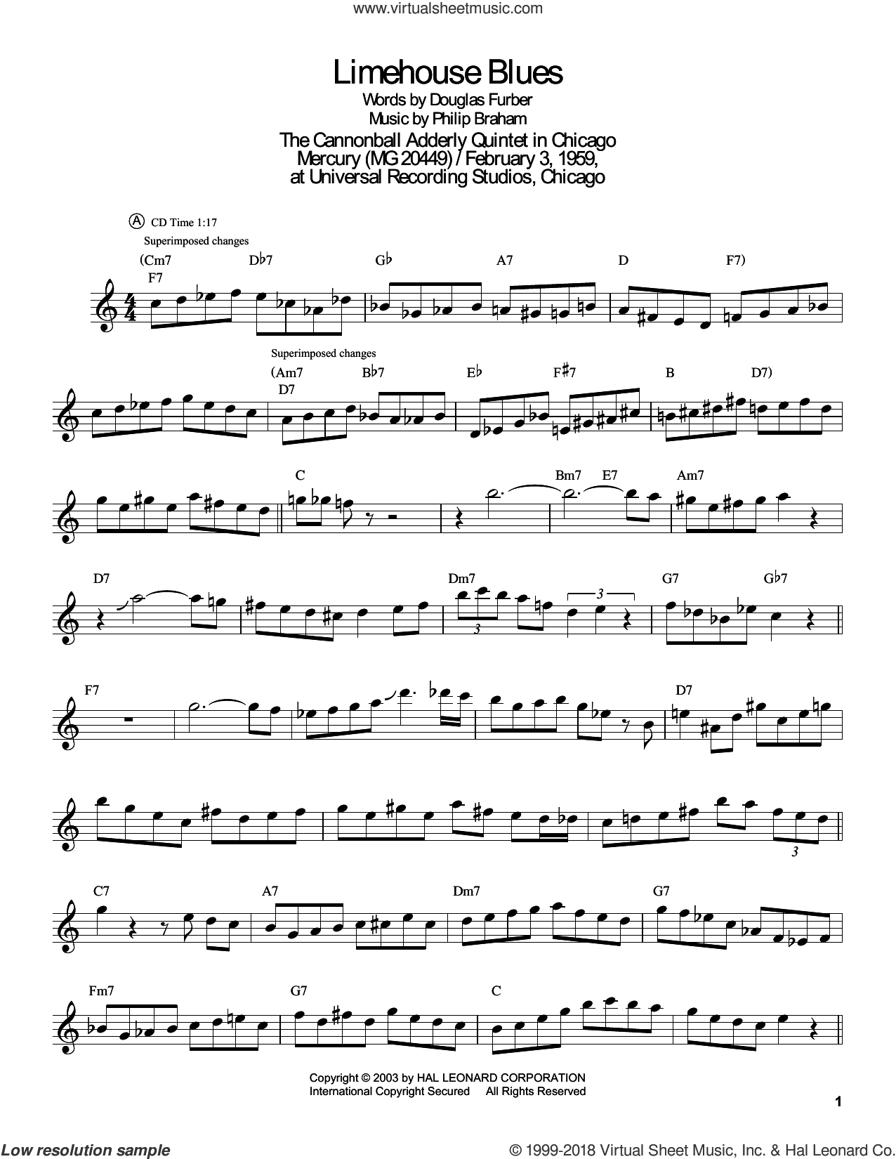 Limehouse Blues sheet music for tenor saxophone solo (transcription) by John Coltrane, Douglas Furber and Philip Braham, intermediate tenor saxophone (transcription)