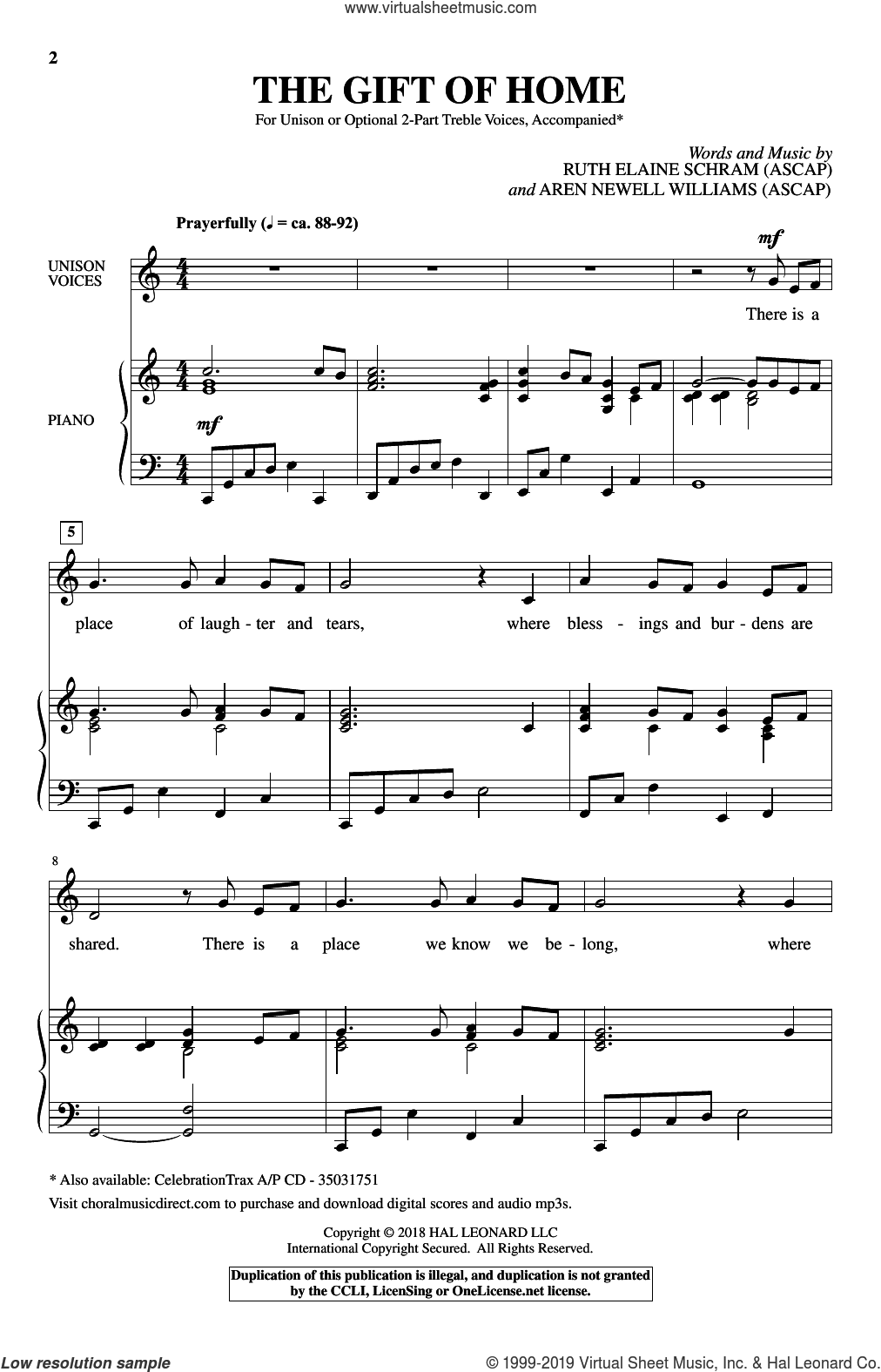 The Gift Of Home sheet music for choir (Unison) by Ruth Elaine Schram and Aren Newell Williams, intermediate skill level