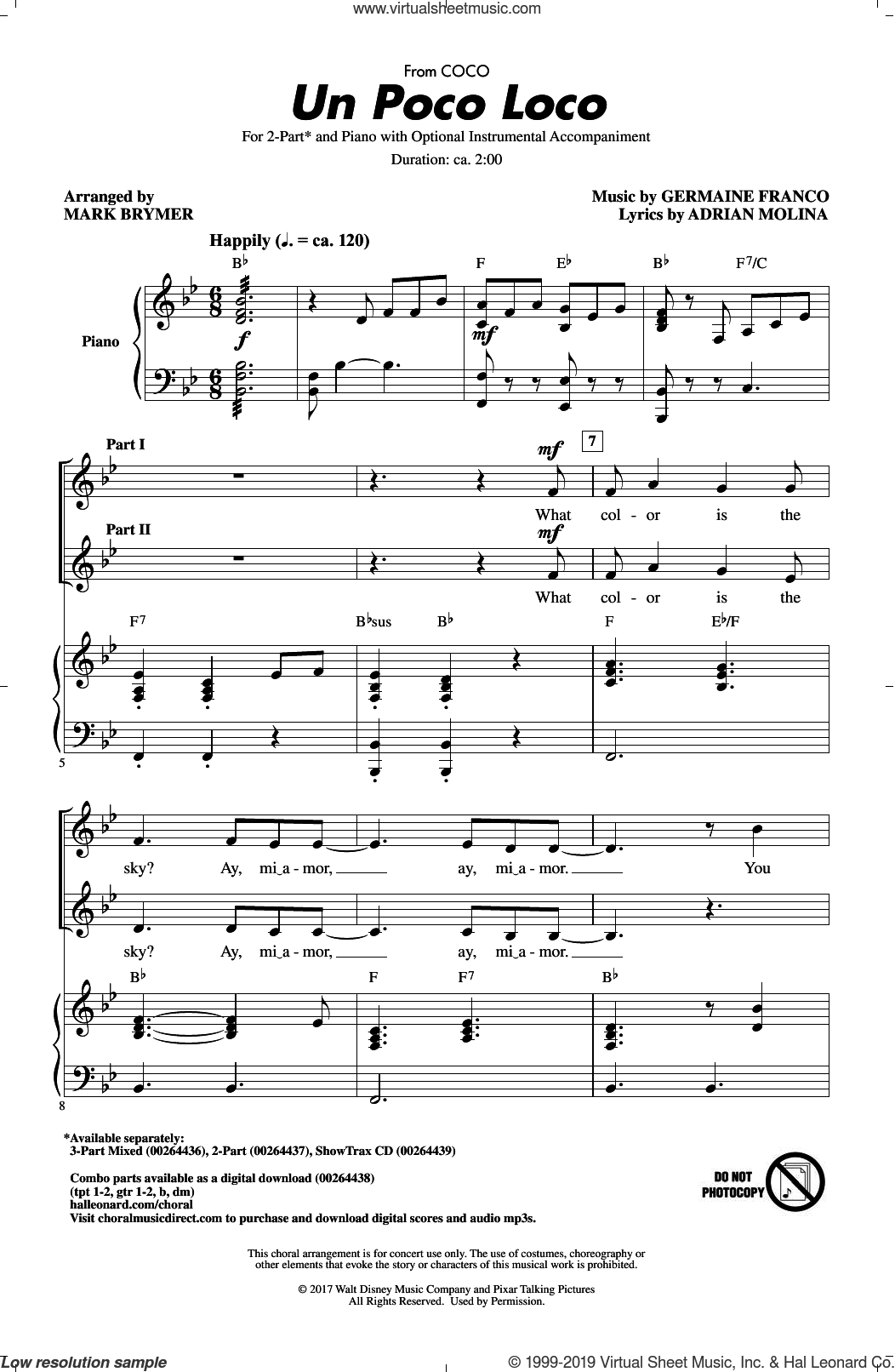 Un Poco Loco (from Coco) (arr. Mark Brymer) sheet music for choir (2-Part) by Germaine Franco, Mark Brymer, Adrian Molina and Germaine Franco & Adrian Molina, intermediate duet