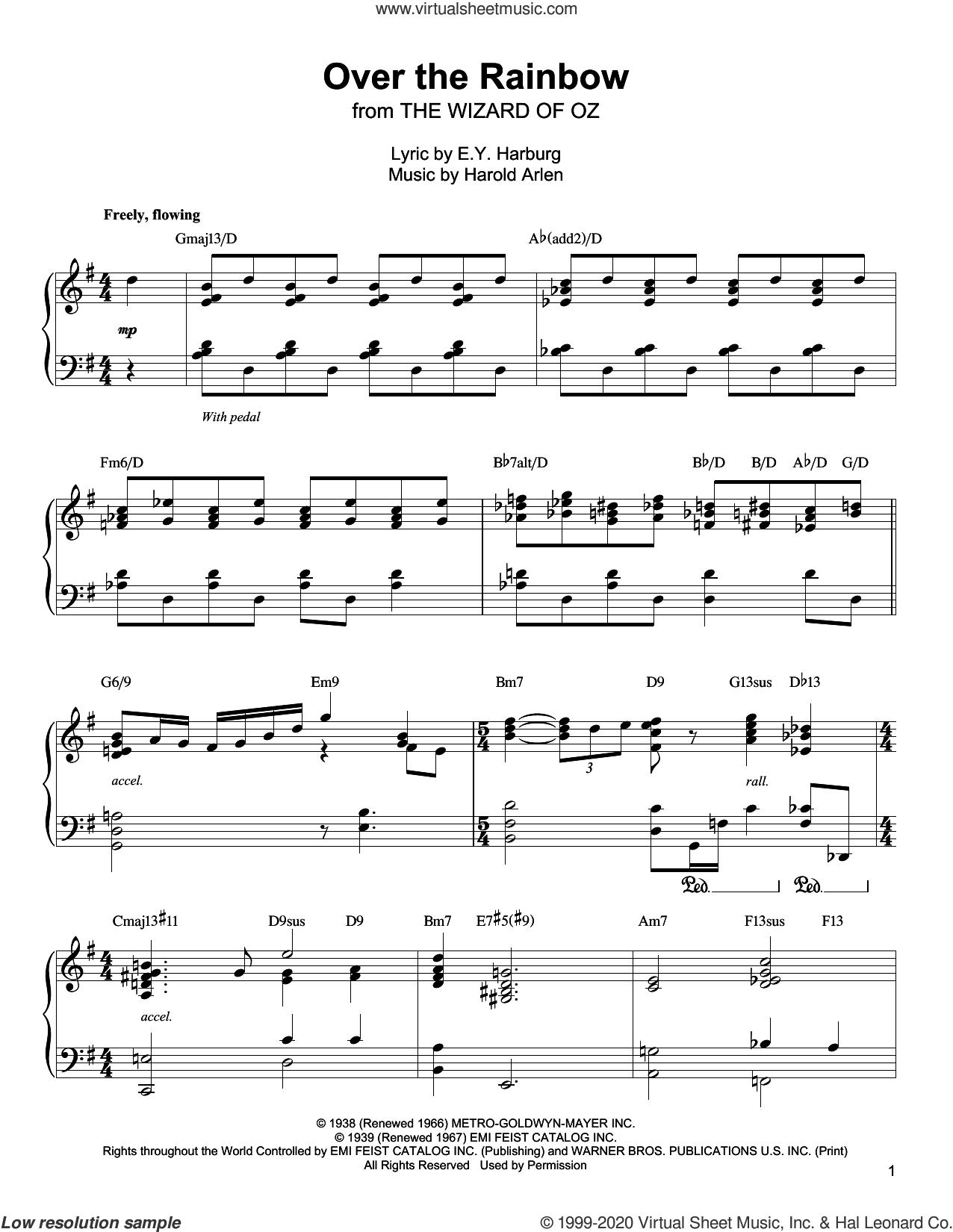 Over The Rainbow sheet music for piano solo (transcription) by Oscar Peterson, E.Y. Harburg and Harold Arlen, intermediate piano (transcription)