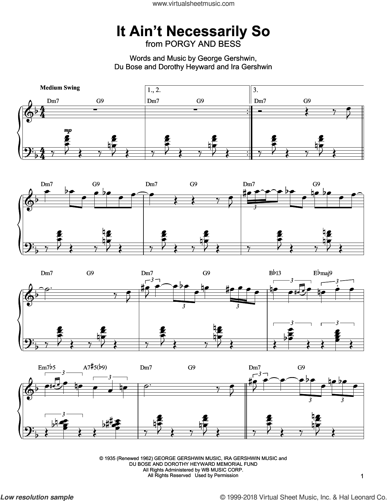 It Ain't Necessarily So sheet music for piano solo (transcription) by Oscar Peterson, Dorothy Heyward, DuBose Heyward and Ira Gershwin, intermediate piano (transcription)