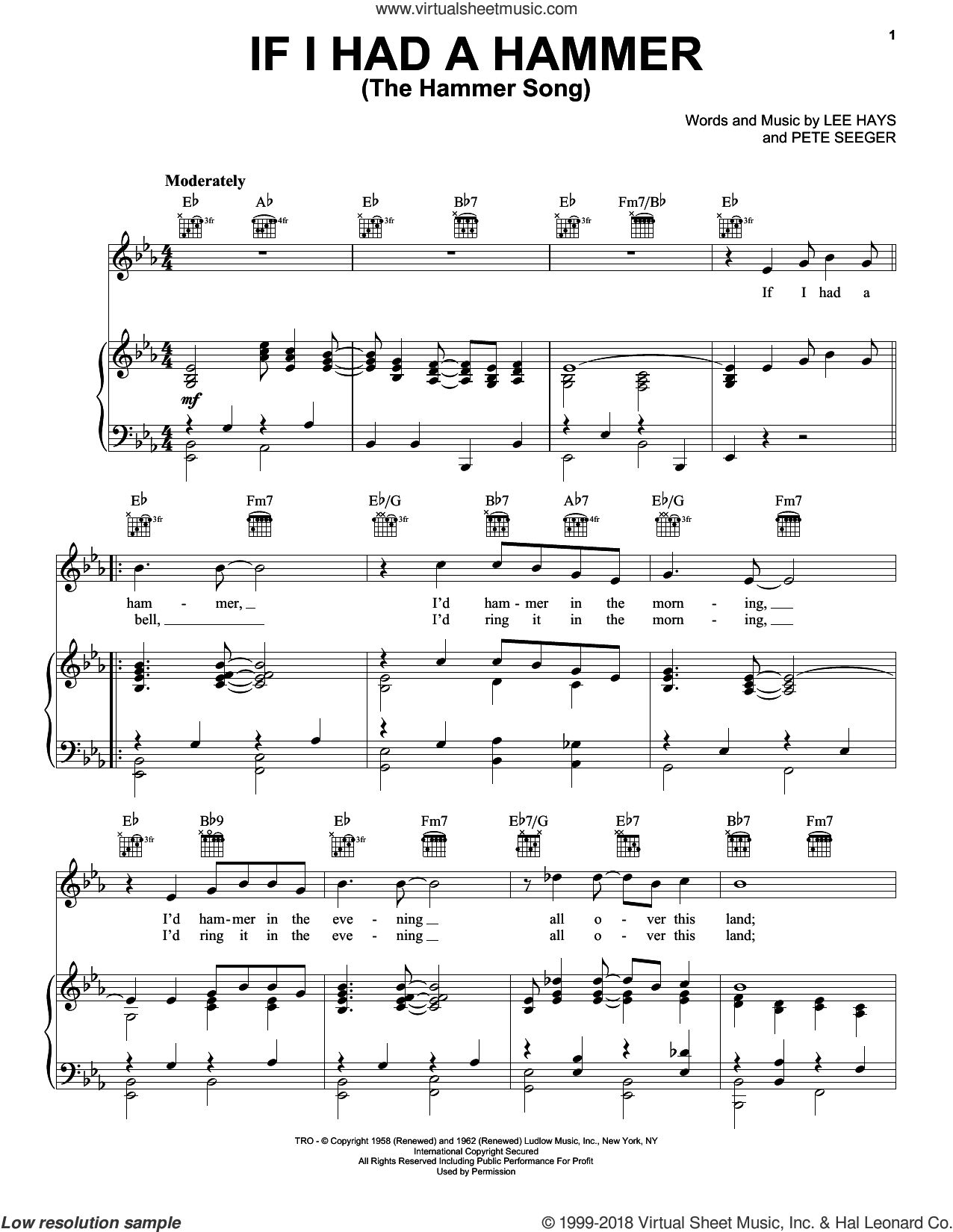 If I Had A Hammer (The Hammer Song) sheet music for voice, piano or guitar by Peter, Paul & Mary, Trini Lopez, Lee Hays and Pete Seeger, intermediate skill level
