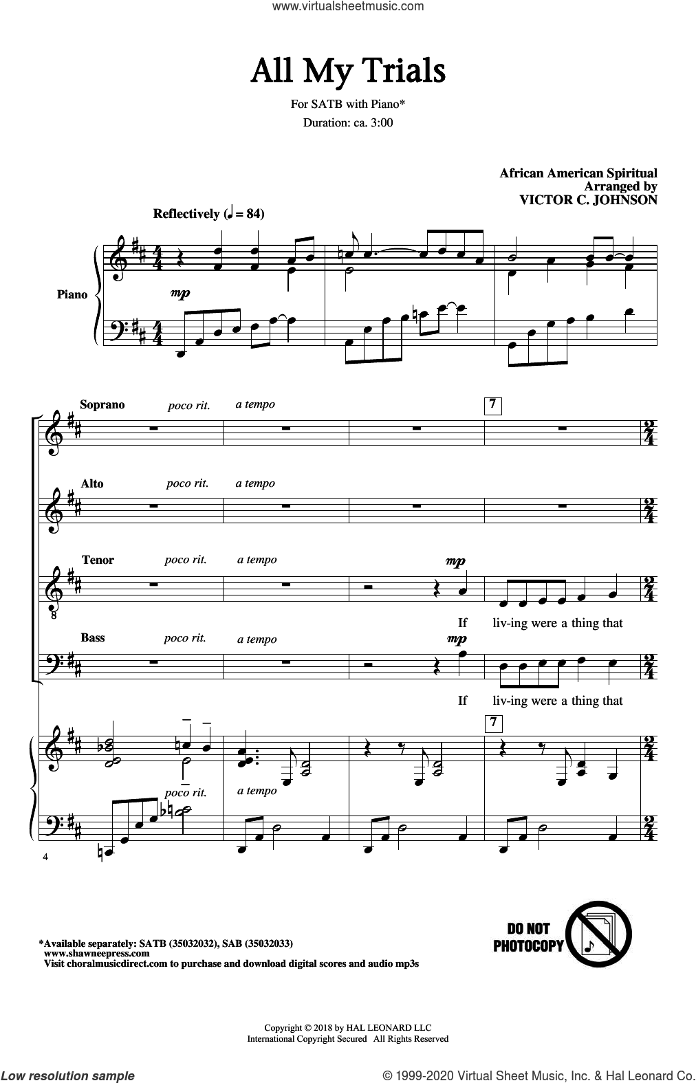 All My Trials sheet music for choir (SATB: soprano, alto, tenor, bass) by Victor Johnson and Miscellaneous, intermediate skill level
