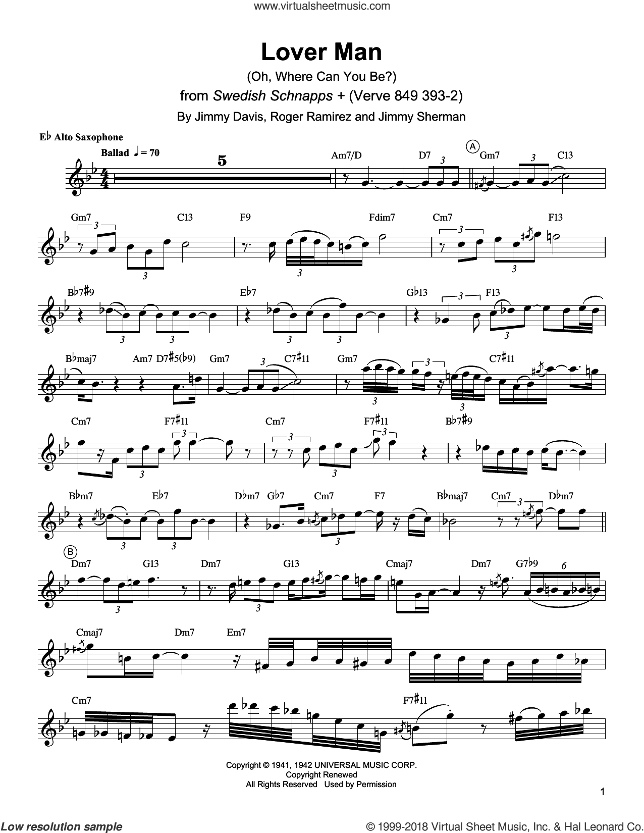 Lover Man (Oh, Where Can You Be?) sheet music for alto saxophone (transcription) by Charlie Parker, Jimmie Davis, Jimmy Sherman and Roger Ramirez, intermediate skill level