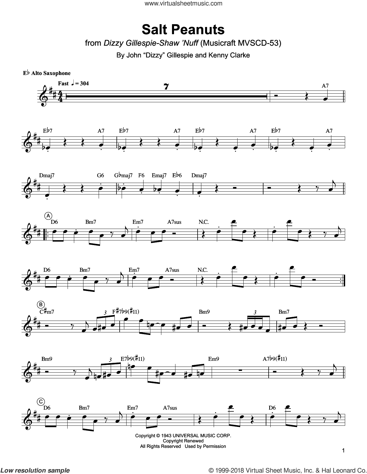 Salt Peanuts sheet music for alto saxophone (transcription) by Charlie Parker, Dizzy Gillespie and Kenny Clarke, intermediate skill level