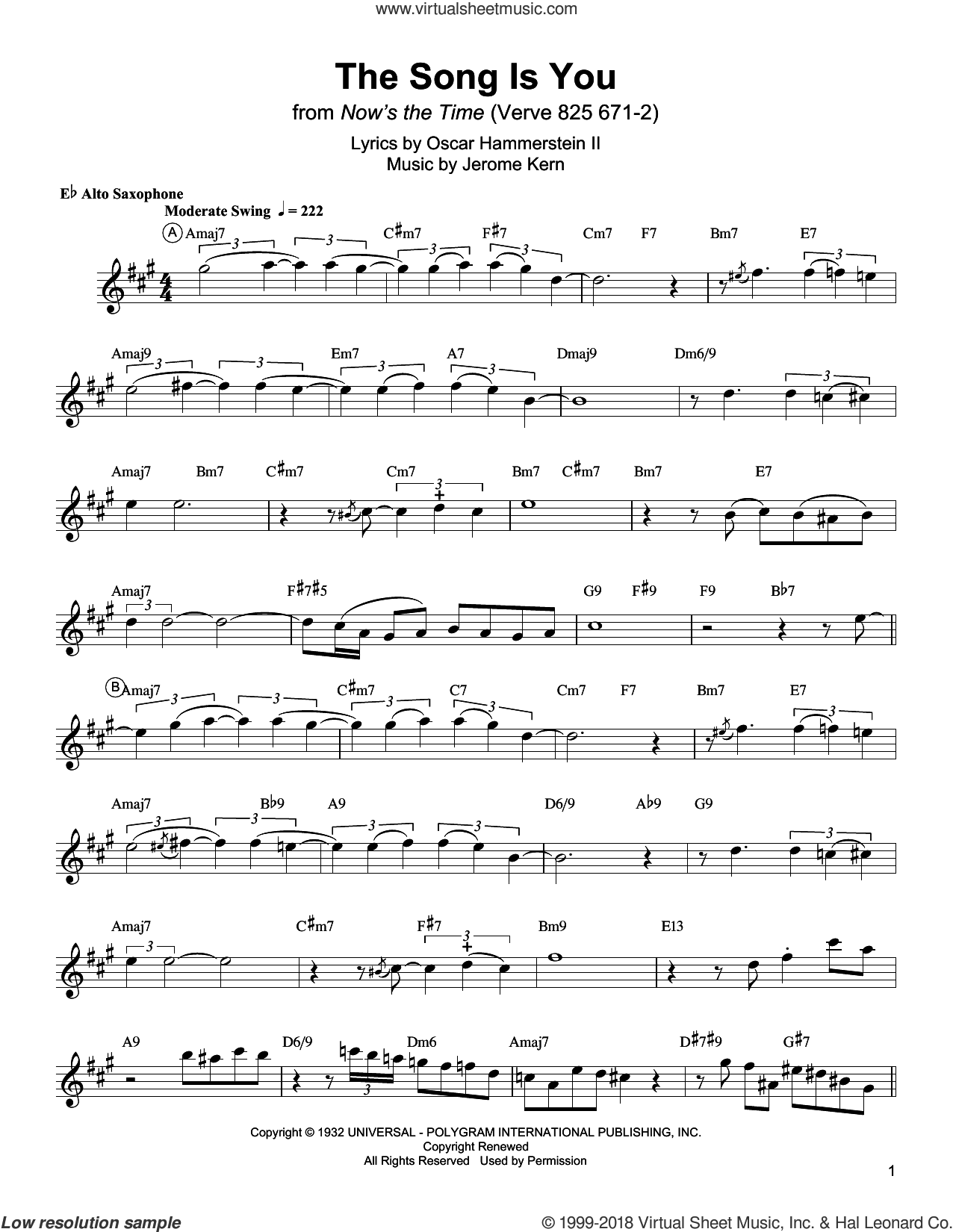 The Song Is You sheet music for alto saxophone (transcription) by Charlie Parker, Jerome Kern and Oscar II Hammerstein, intermediate skill level