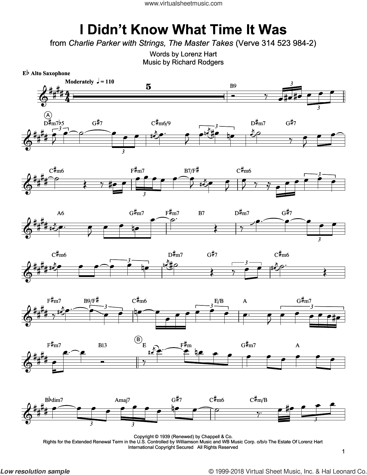 I Didn't Know What Time It Was sheet music for alto saxophone (transcription) by Charlie Parker, Lorenz Hart and Richard Rodgers, intermediate skill level