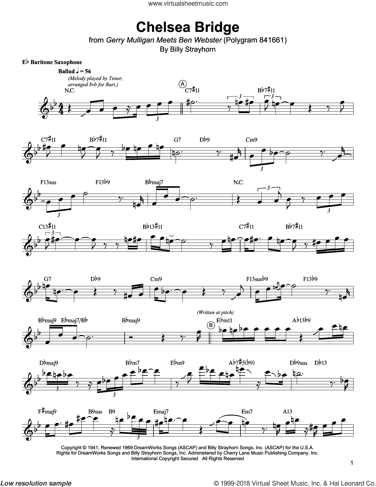 Chelsea Bridge sheet music for baritone saxophone (transcription) by Gerry Mulligan and Billy Strayhorn, intermediate skill level