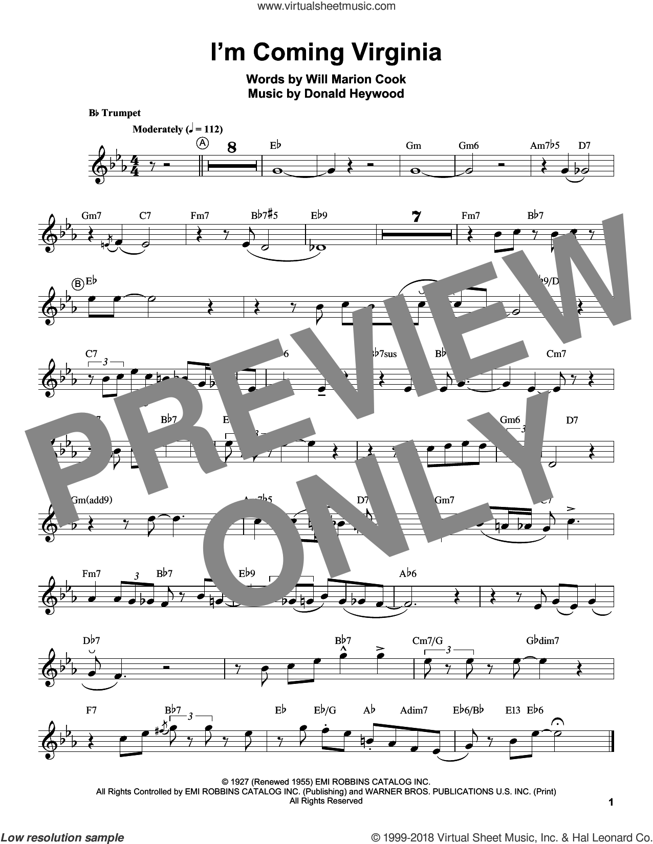 I'm Coming Virginia sheet music for trumpet solo (transcription) by Louis Armstrong, Donald Heywood and Will Marion Cook, intermediate trumpet (transcription)