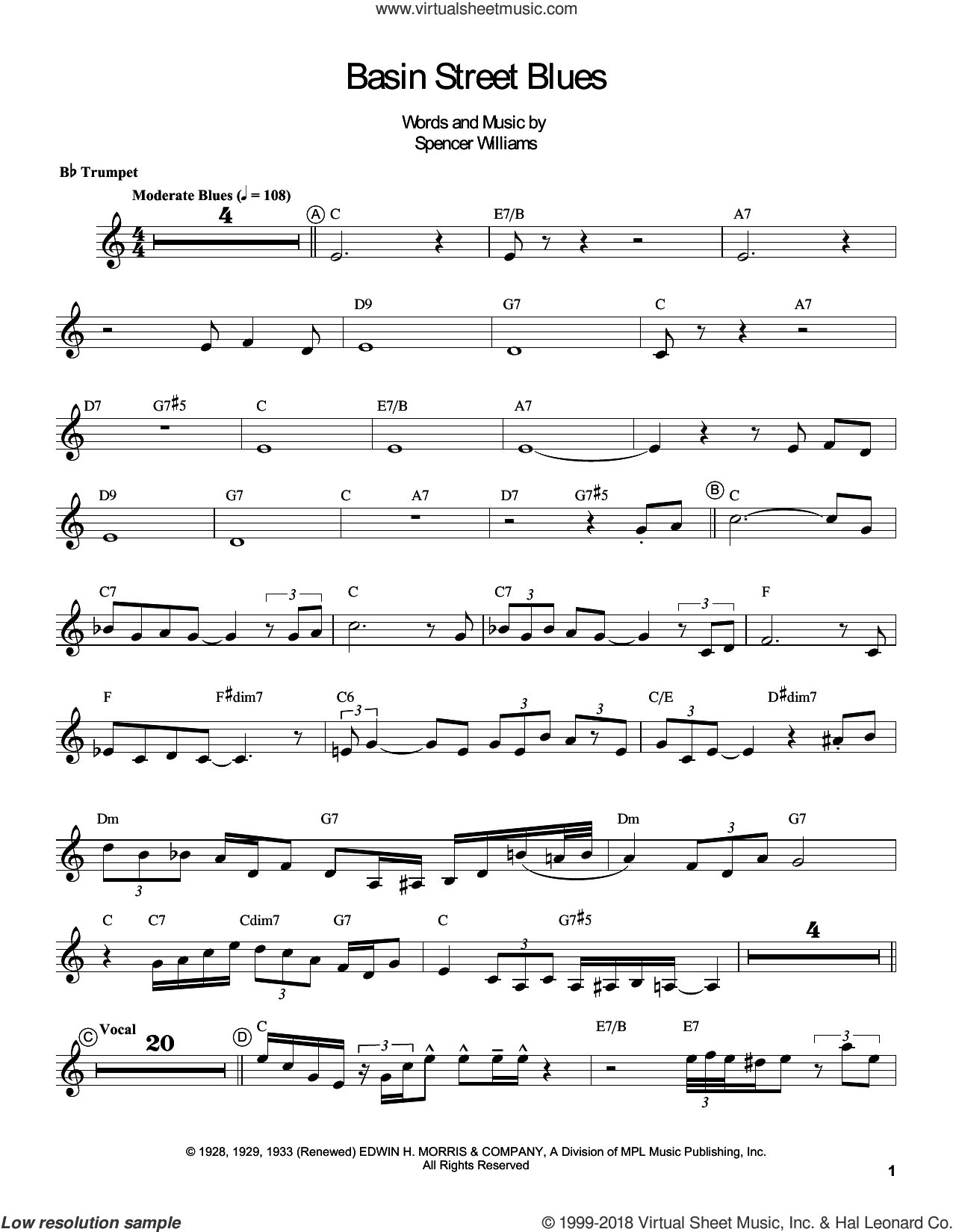 Basin Street Blues sheet music for trumpet solo (transcription) by Louis Armstrong and Spencer Williams, intermediate trumpet (transcription)