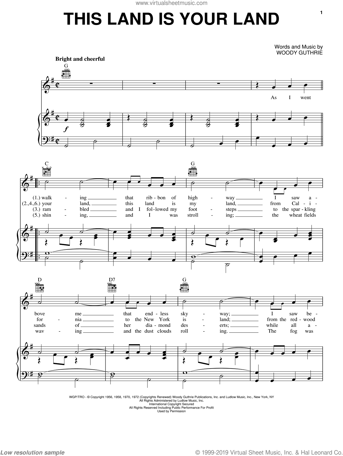This Land Is Your Land sheet music for voice, piano or guitar by Woody Guthrie, Arlo Guthrie and New Christy Minstrels, intermediate skill level