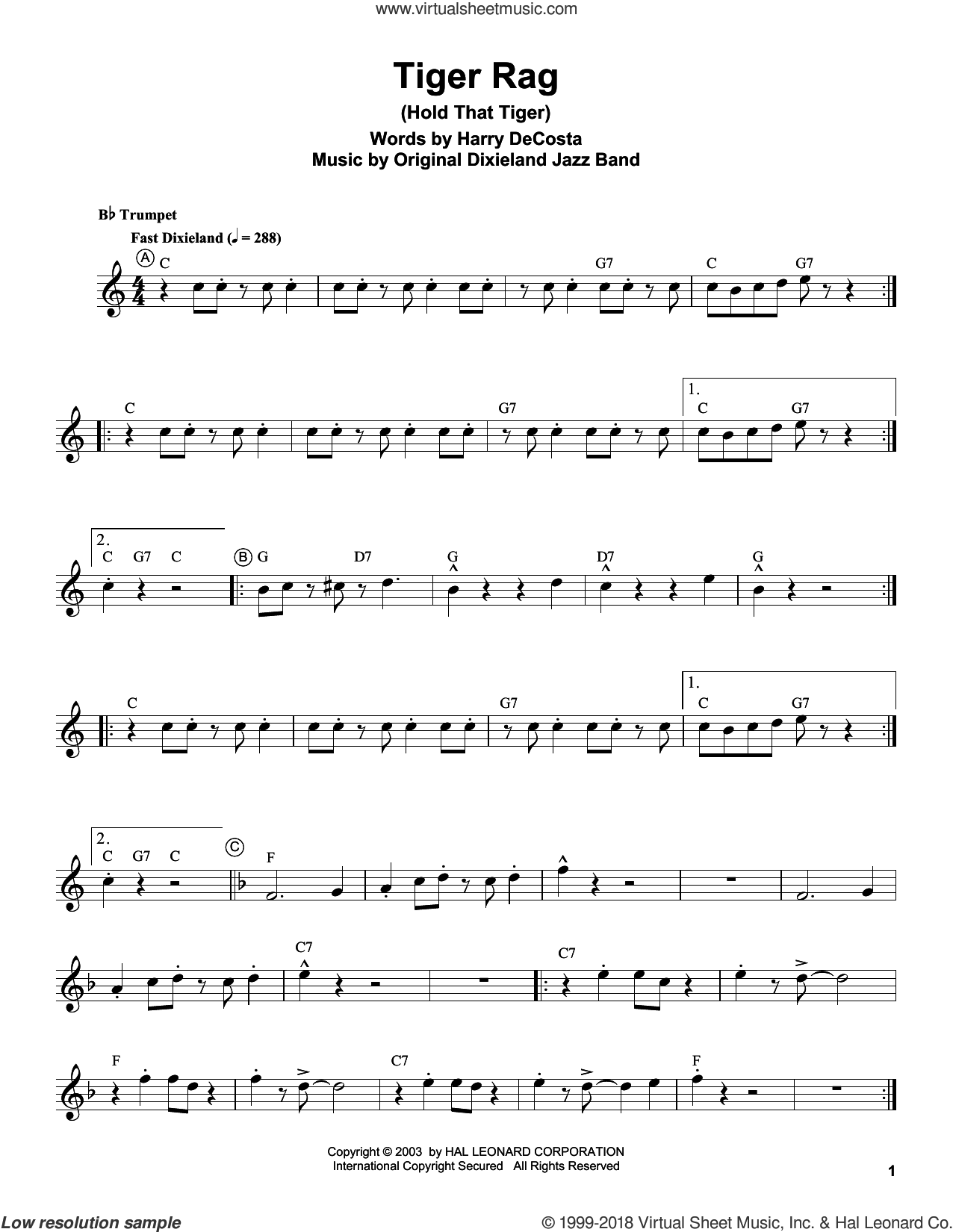 Tiger Rag (Hold That Tiger) sheet music for trumpet solo (transcription) by Louis Armstrong and Harry DeCosta, intermediate trumpet (transcription)