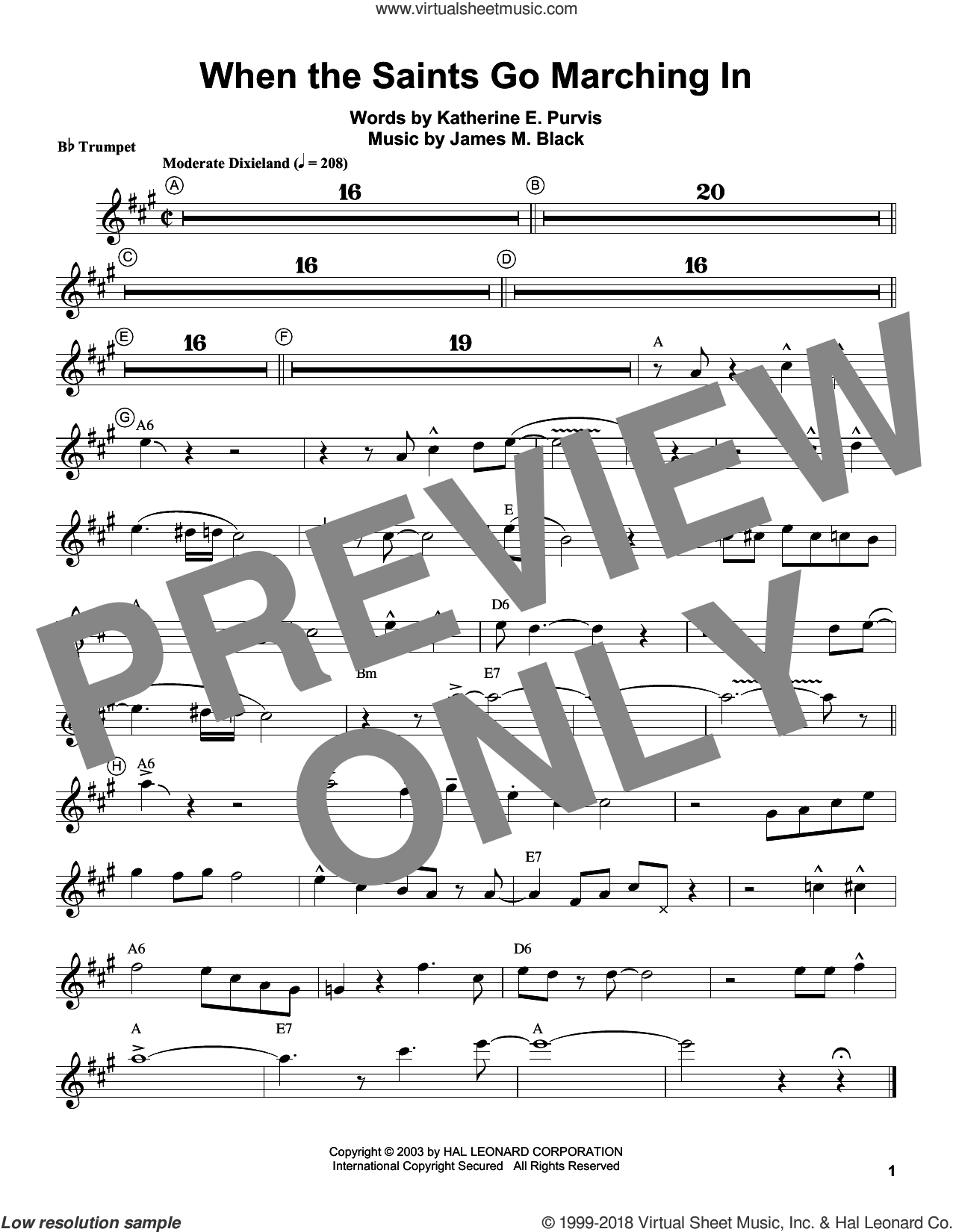 When The Saints Go Marching In sheet music for trumpet solo (transcription) by Louis Armstrong, James M. Black and Katherine E. Purvis, intermediate trumpet (transcription)