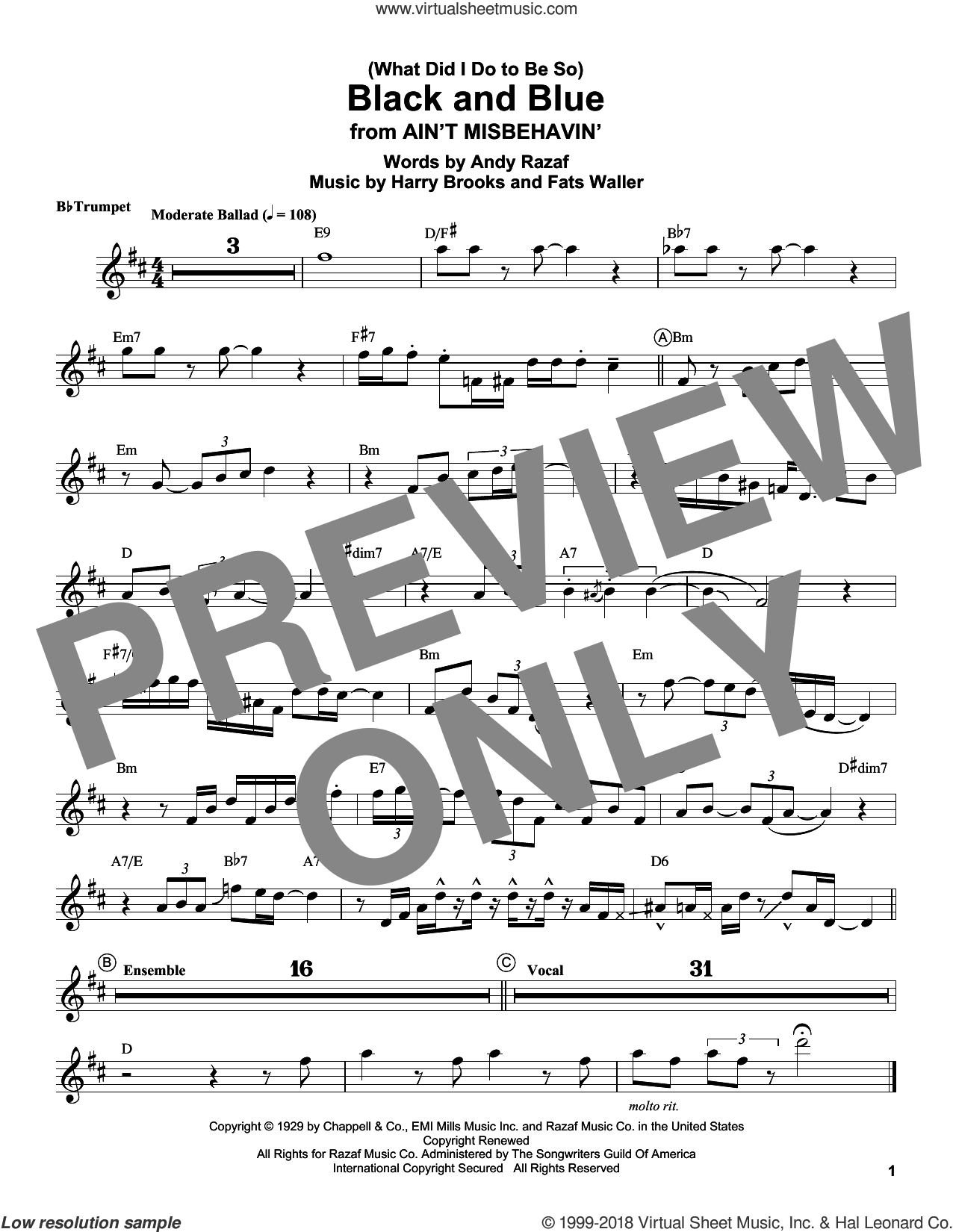 (What Did I Do To Be So) Black And Blue sheet music for trumpet solo (transcription) by Louis Armstrong, Andy Razaf, Harry Brooks and Thomas Waller, intermediate trumpet (transcription)