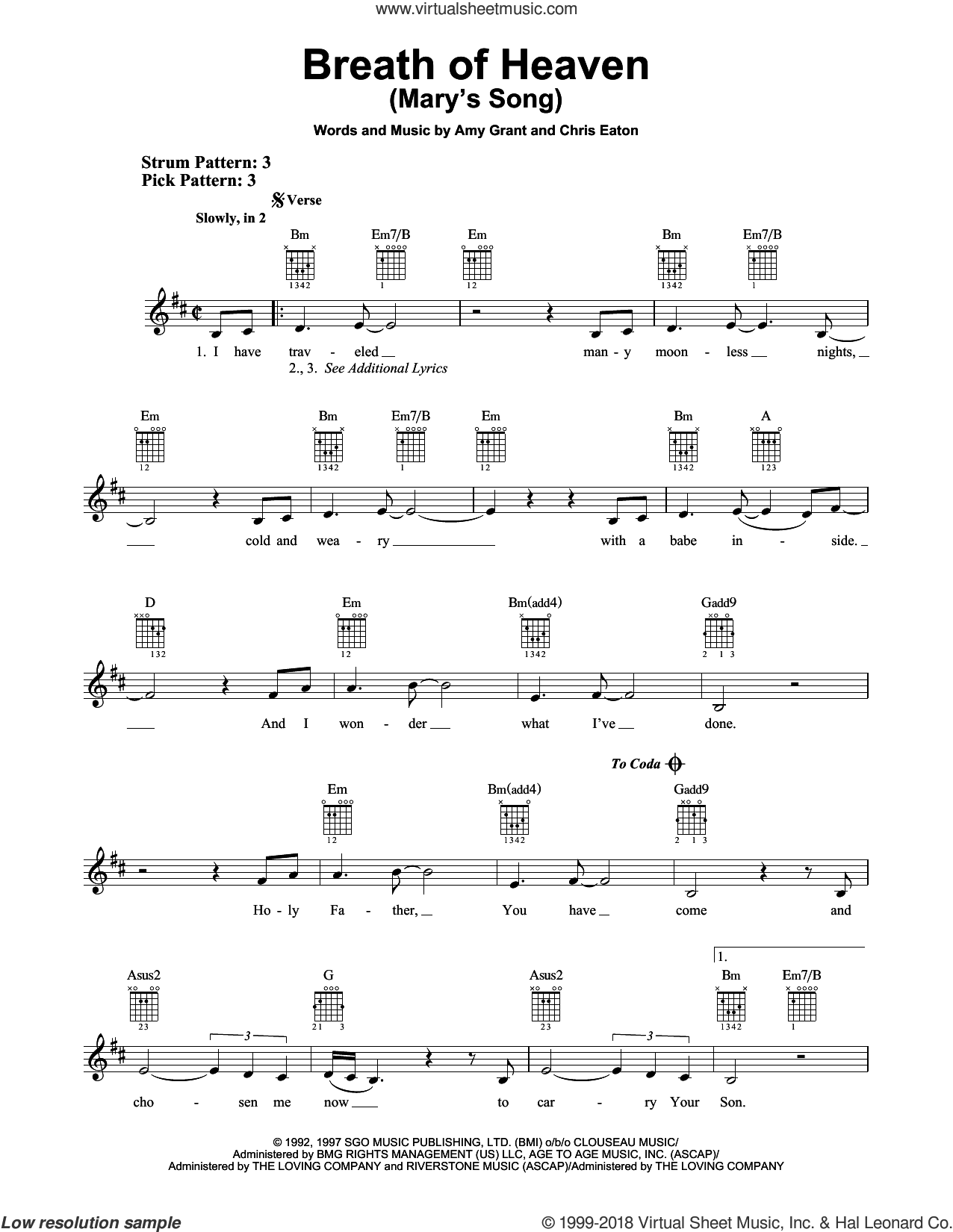 Breath Of Heaven (Mary's Song) sheet music for guitar solo (chords) by Amy Grant and Chris Eaton, easy guitar (chords)
