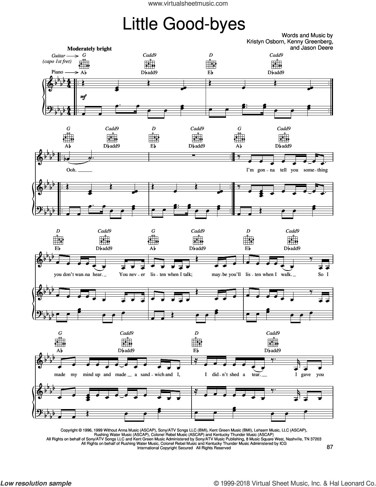 Little Good-byes sheet music for voice, piano or guitar by SHeDAISY, Jason Deere, Kenny Greenberg and Kristyn Osborn, intermediate skill level