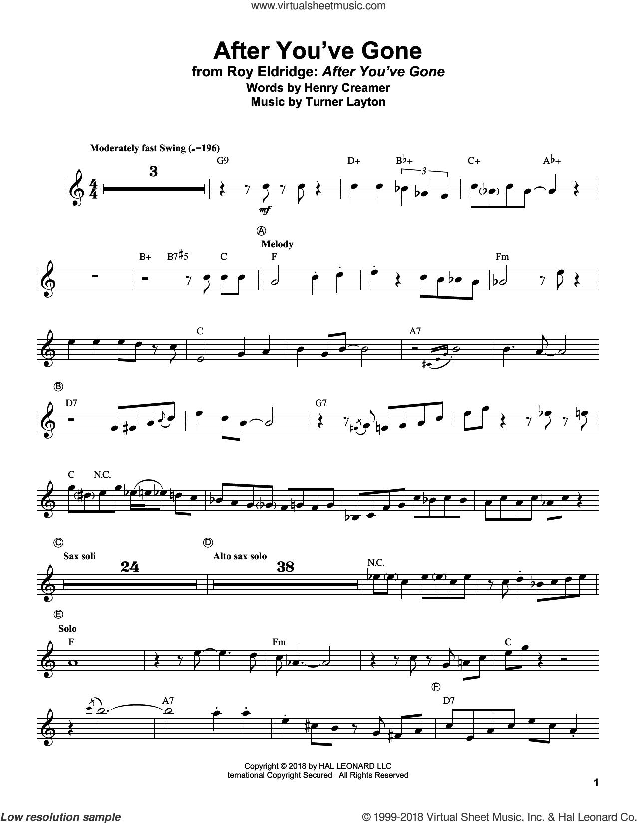 After You've Gone sheet music for trumpet solo (transcription) by Sophie Tucker, Roy Eldridge, Henry Creamer and Turner Layton, intermediate trumpet (transcription)