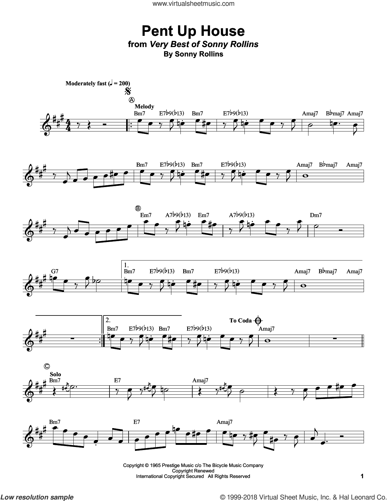 Pent Up House sheet music for trumpet solo (transcription) by Clifford Brown and Sonny Rollins, intermediate trumpet (transcription)