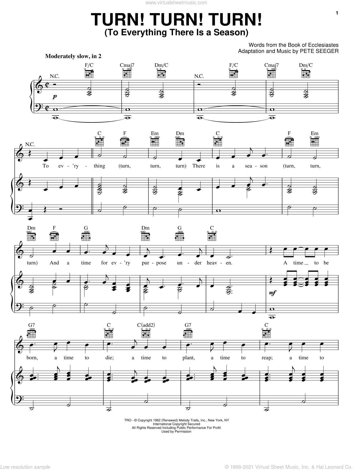 Turn! Turn! Turn! (To Everything There Is A Season) sheet music for voice, piano or guitar by The Byrds and Pete Seeger, intermediate voice, piano or guitar. Score Image Preview.