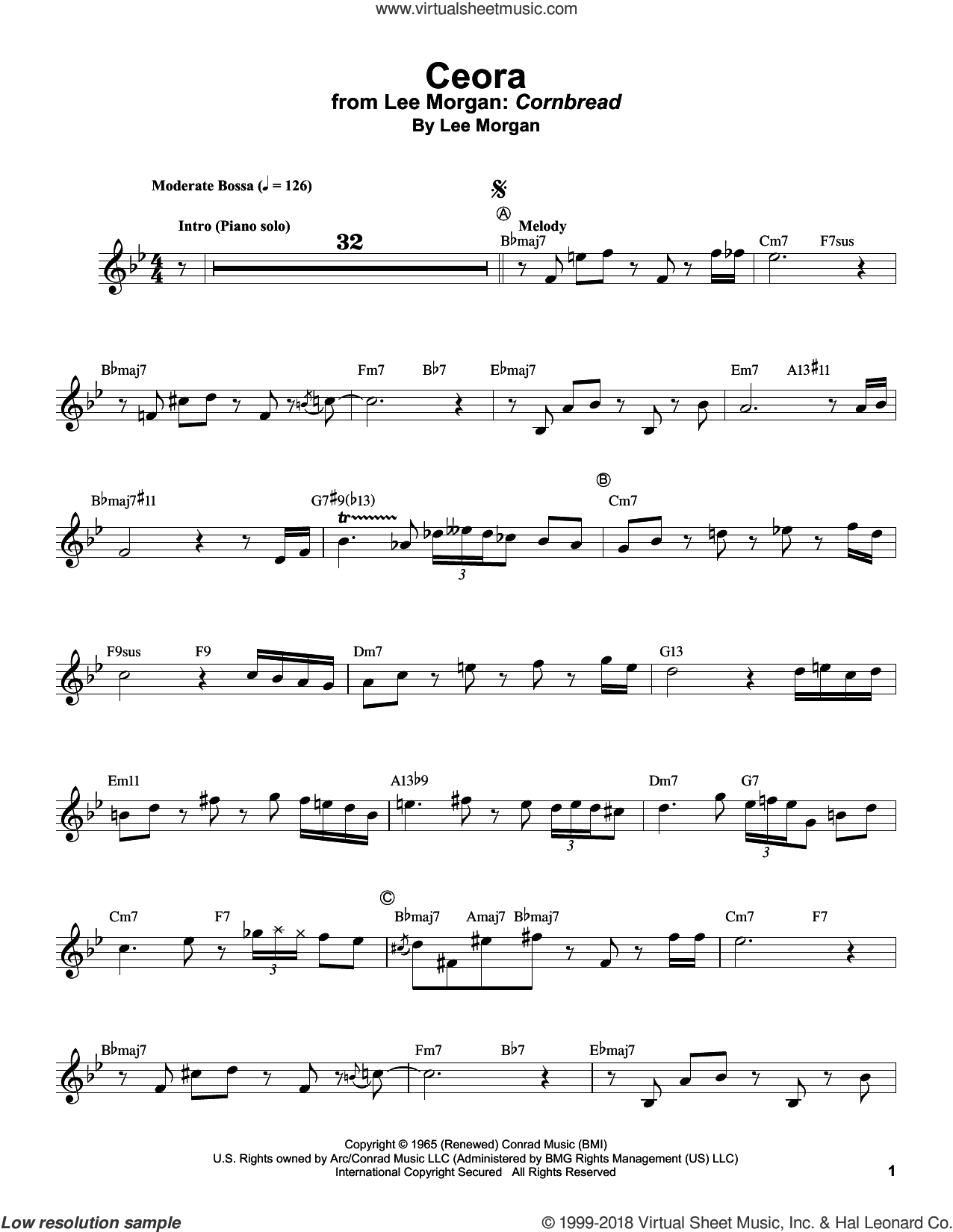 Ceora sheet music for trumpet solo (transcription) by Lee Morgan and Billy Taylor, intermediate trumpet (transcription)