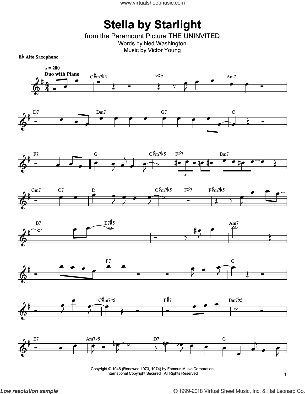 Stella By Starlight sheet music for alto saxophone (transcription) by Bud Shank, Ned Washington and Victor Young, intermediate skill level