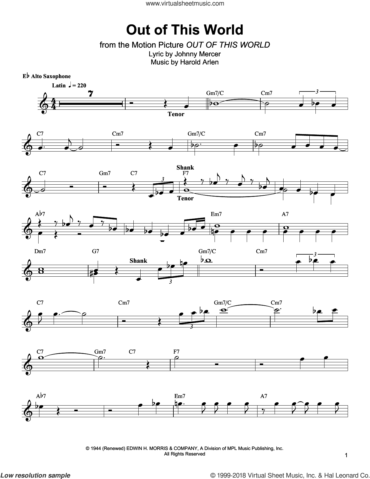 Out Of This World sheet music for alto saxophone (transcription) by Bud Shank, Harold Arlen and Johnny Mercer, intermediate skill level