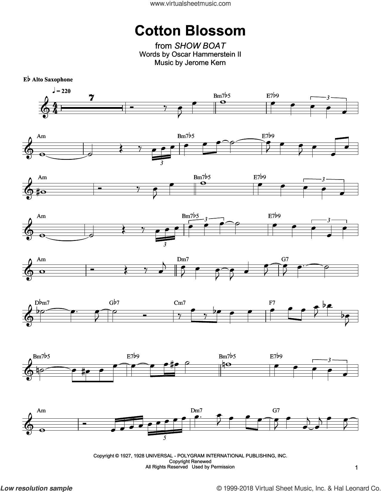 Cotton Blossom sheet music for alto saxophone (transcription) by Bud Shank, Jerome Kern and Oscar II Hammerstein, intermediate skill level