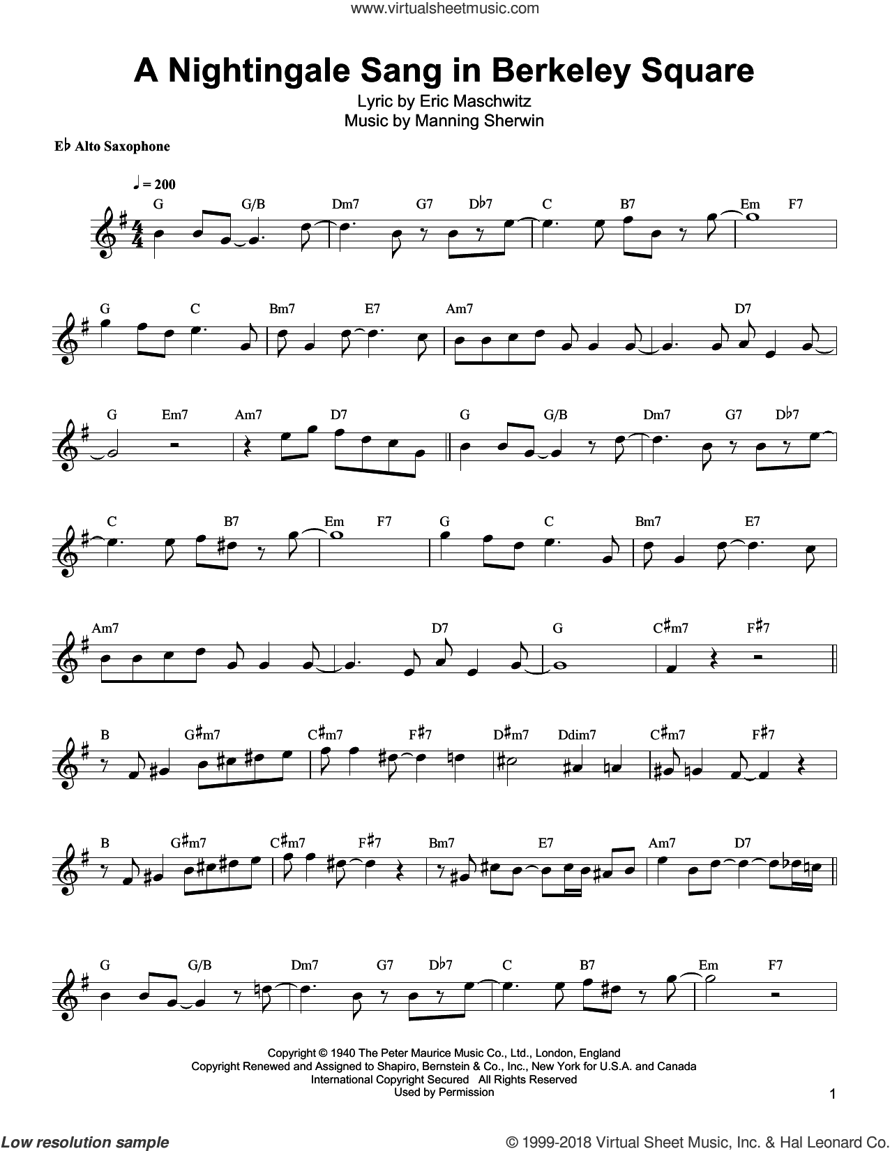 A Nightingale Sang In Berkeley Square sheet music for alto saxophone (transcription) by Bud Shank, Eric Maschwitz and Manning Sherwin, intermediate skill level