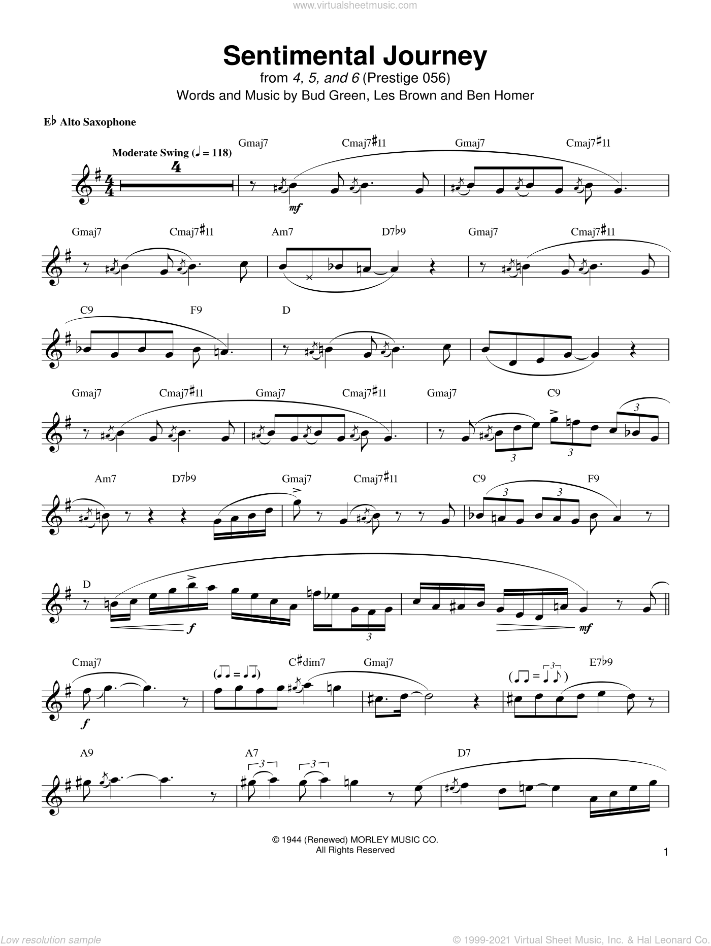 Sentimental Journey sheet music for alto saxophone (transcription) by Jackie McLean, Ben Homer, Bud Green and Les Brown, intermediate skill level