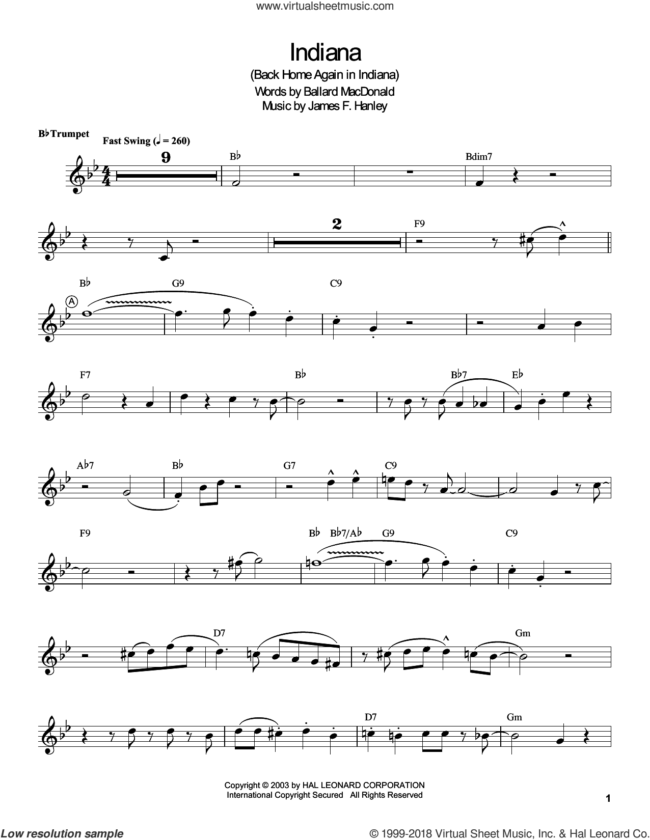 Indiana (Back Home Again In Indiana) sheet music for trumpet solo (transcription) by Louis Armstrong, Ballard MacDonald and James Hanley, intermediate trumpet (transcription)