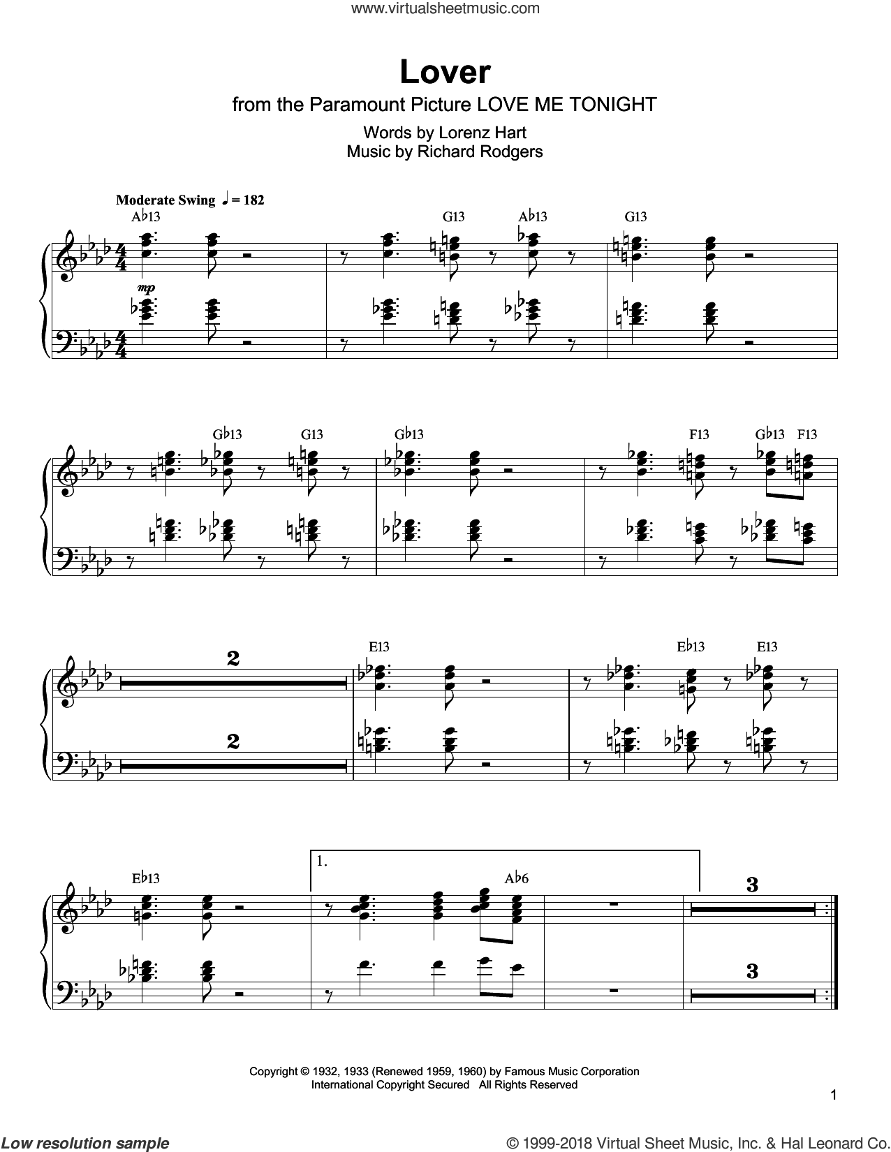 Lover sheet music for piano solo (transcription) by Oscar Peterson, Lorenz Hart and Richard Rodgers, intermediate piano (transcription)