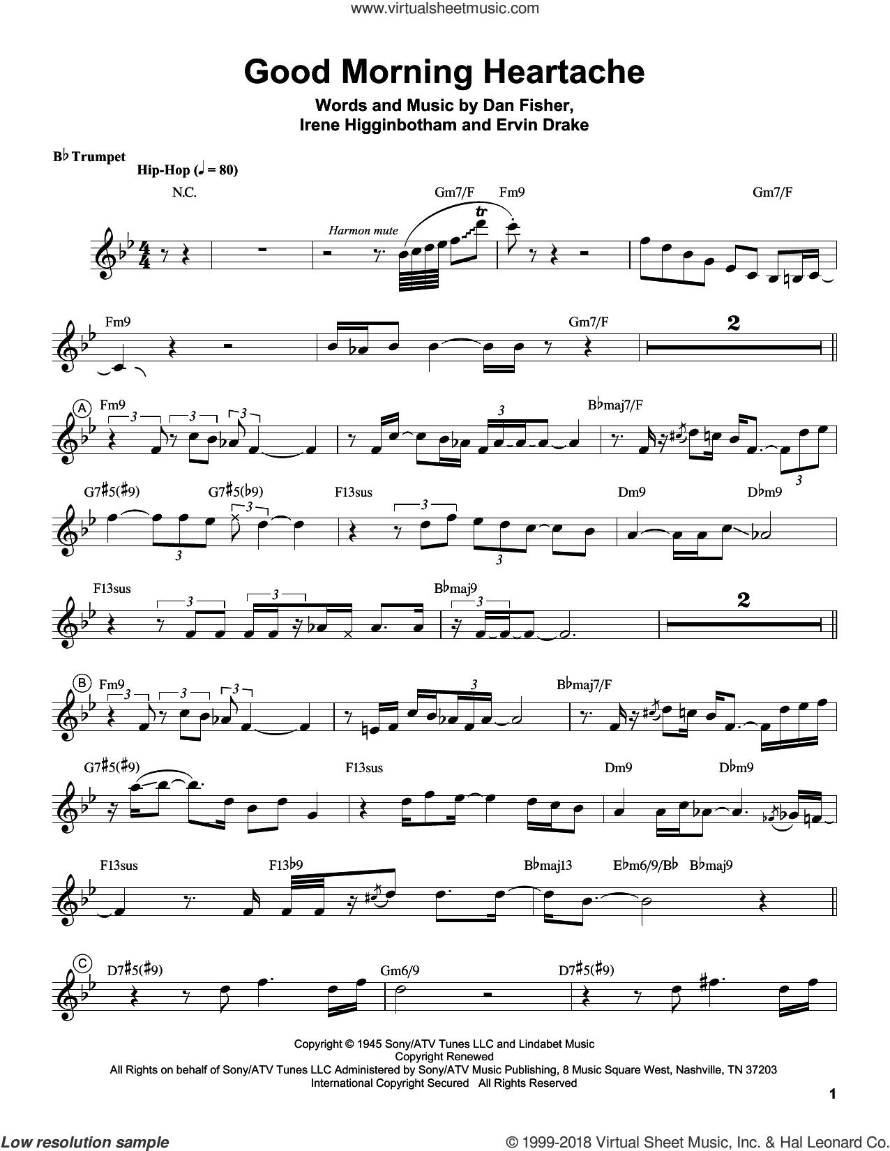 Good Morning Heartache sheet music for trumpet solo (transcription) by Chris Botti, Billie Holiday, Diana Ross, Dan Fisher, Ervin Drake and Irene Higginbotham, intermediate trumpet (transcription)