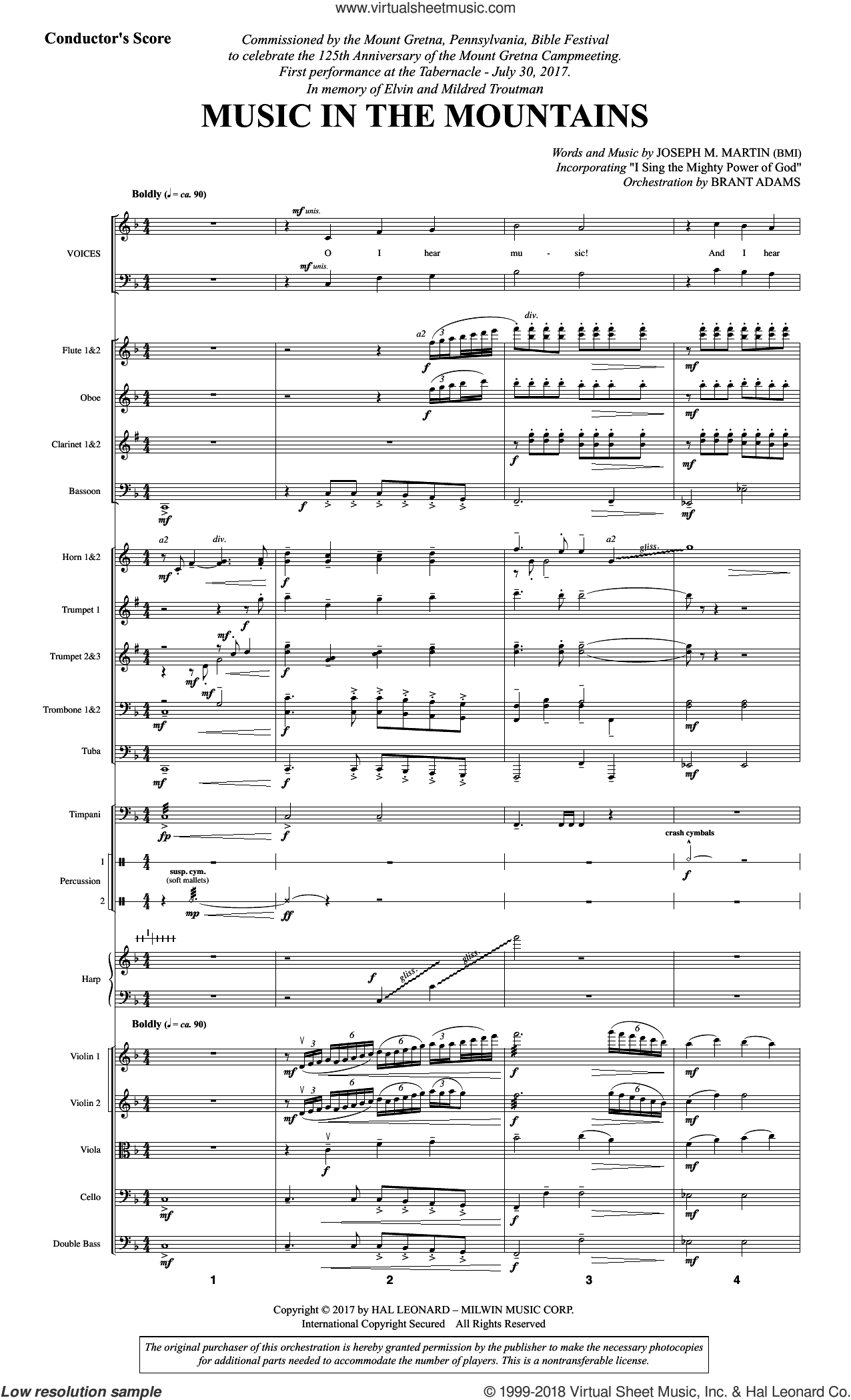Music in the Mountains (COMPLETE) sheet music for orchestra/band by Joseph M. Martin, intermediate skill level