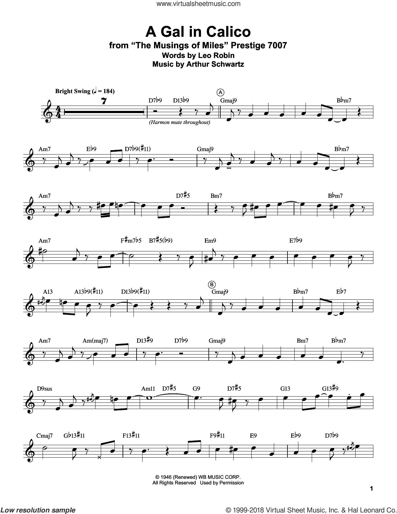A Gal In Calico sheet music for trumpet solo (transcription) by Miles Davis, Arthur Schwartz and Leo Robin, intermediate trumpet (transcription)
