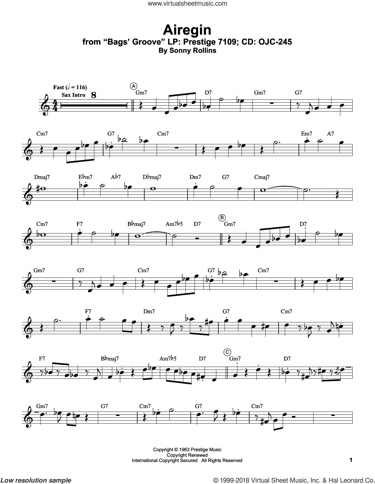 Airegin sheet music for trumpet solo (transcription) by Miles Davis and Sonny Rollins, intermediate trumpet (transcription)