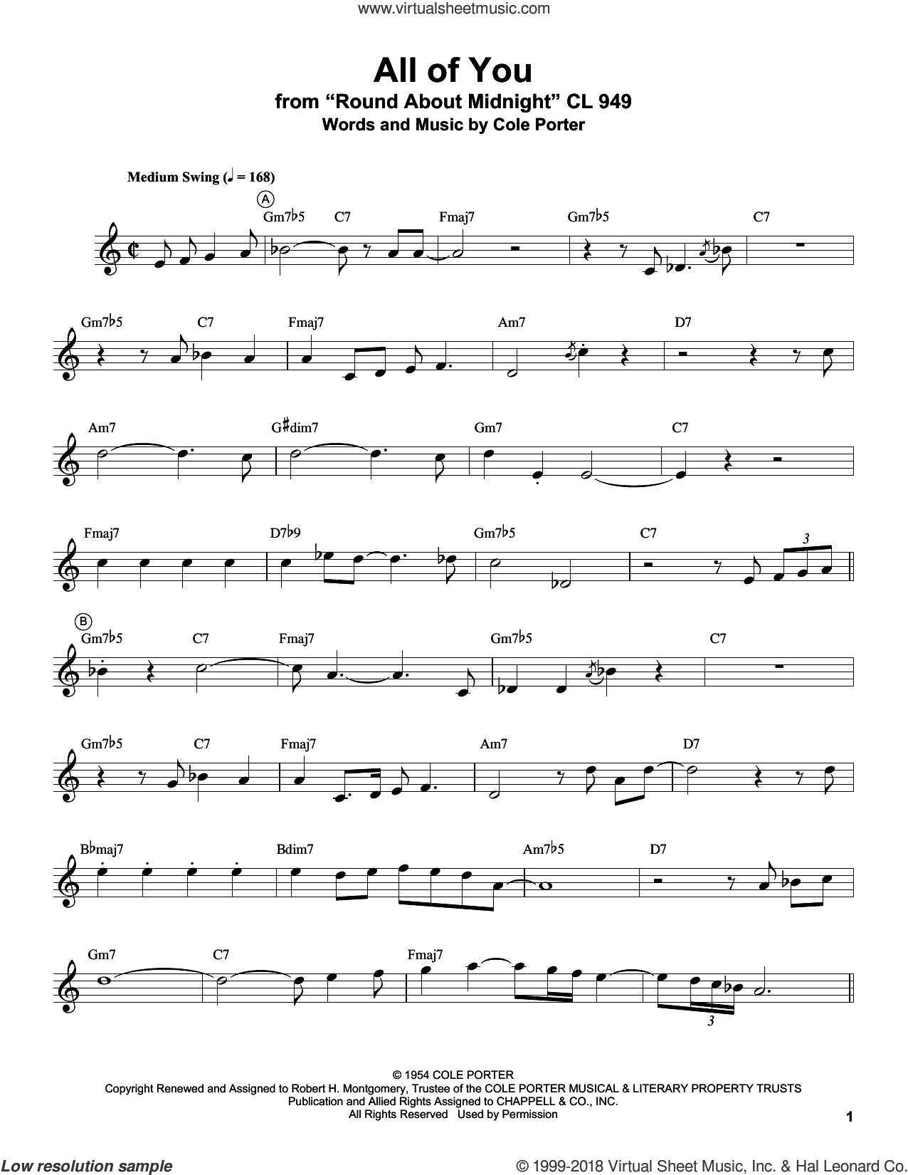 All Of You sheet music for trumpet solo (transcription) by Miles Davis and Cole Porter, intermediate trumpet (transcription)