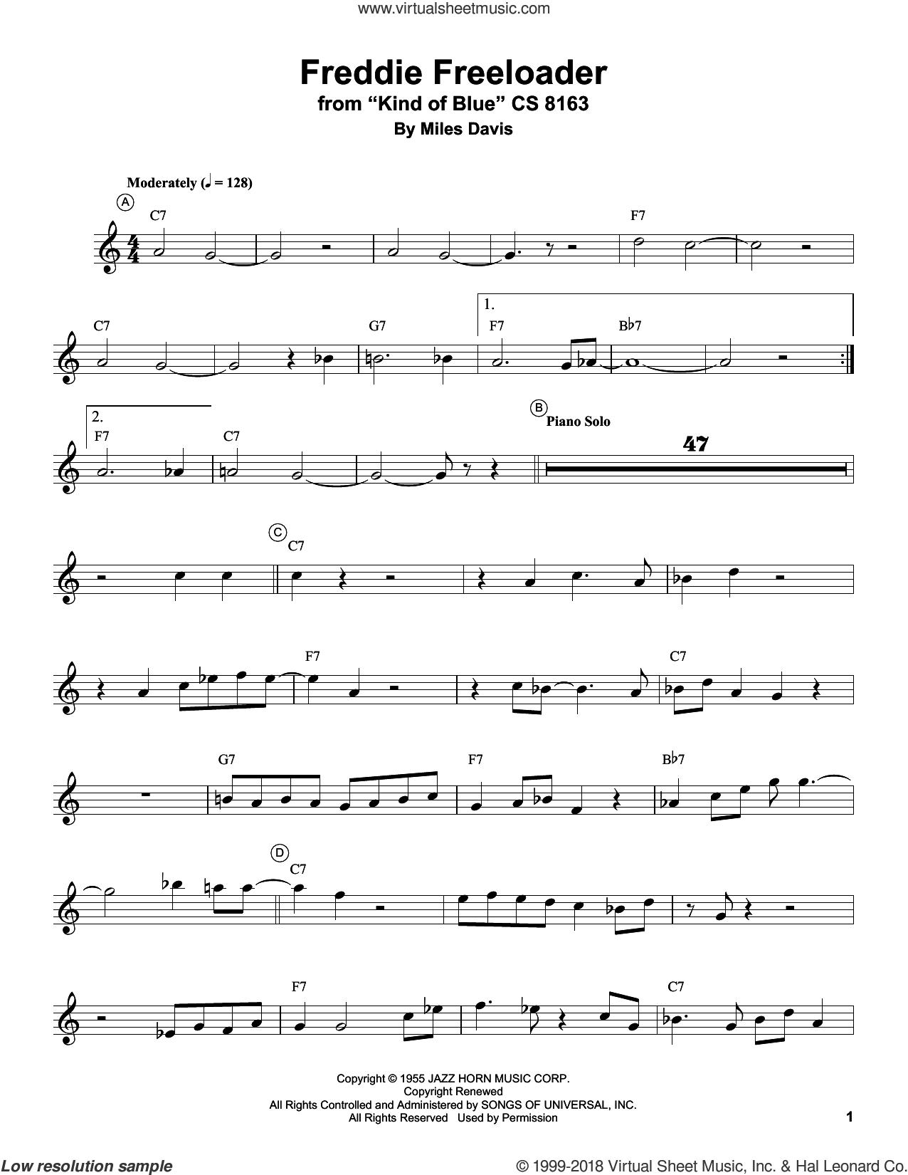 Freddie Freeloader sheet music for trumpet solo (transcription) by Miles Davis, intermediate trumpet (transcription)