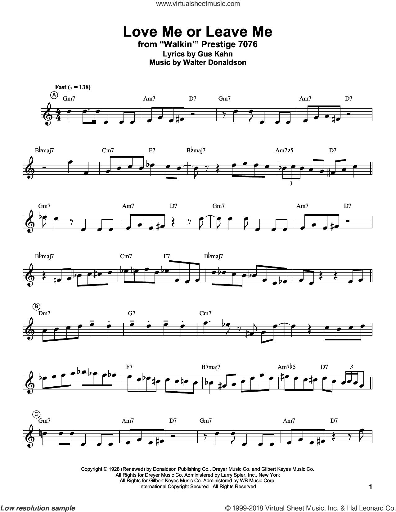 Love Me Or Leave Me sheet music for trumpet solo (transcription) by Miles Davis, Gus Kahn and Walter Donaldson, intermediate trumpet (transcription)