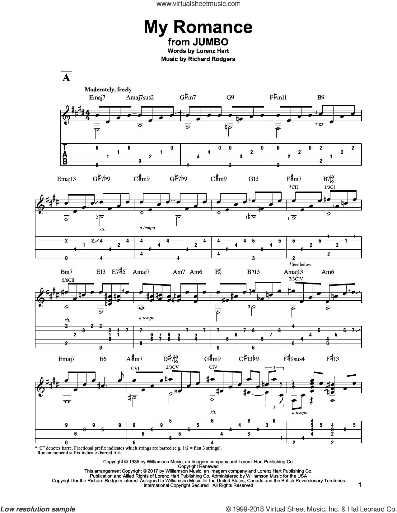 My Romance sheet music for guitar solo by Richard Rodgers, Matt Otten and Lorenz Hart, intermediate skill level