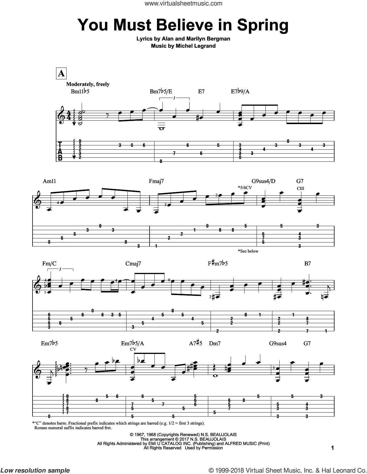 You Must Believe In Spring sheet music for guitar solo by Michel Legrand, Matt Otten, Alan Bergman and Marilyn Bergman, intermediate skill level