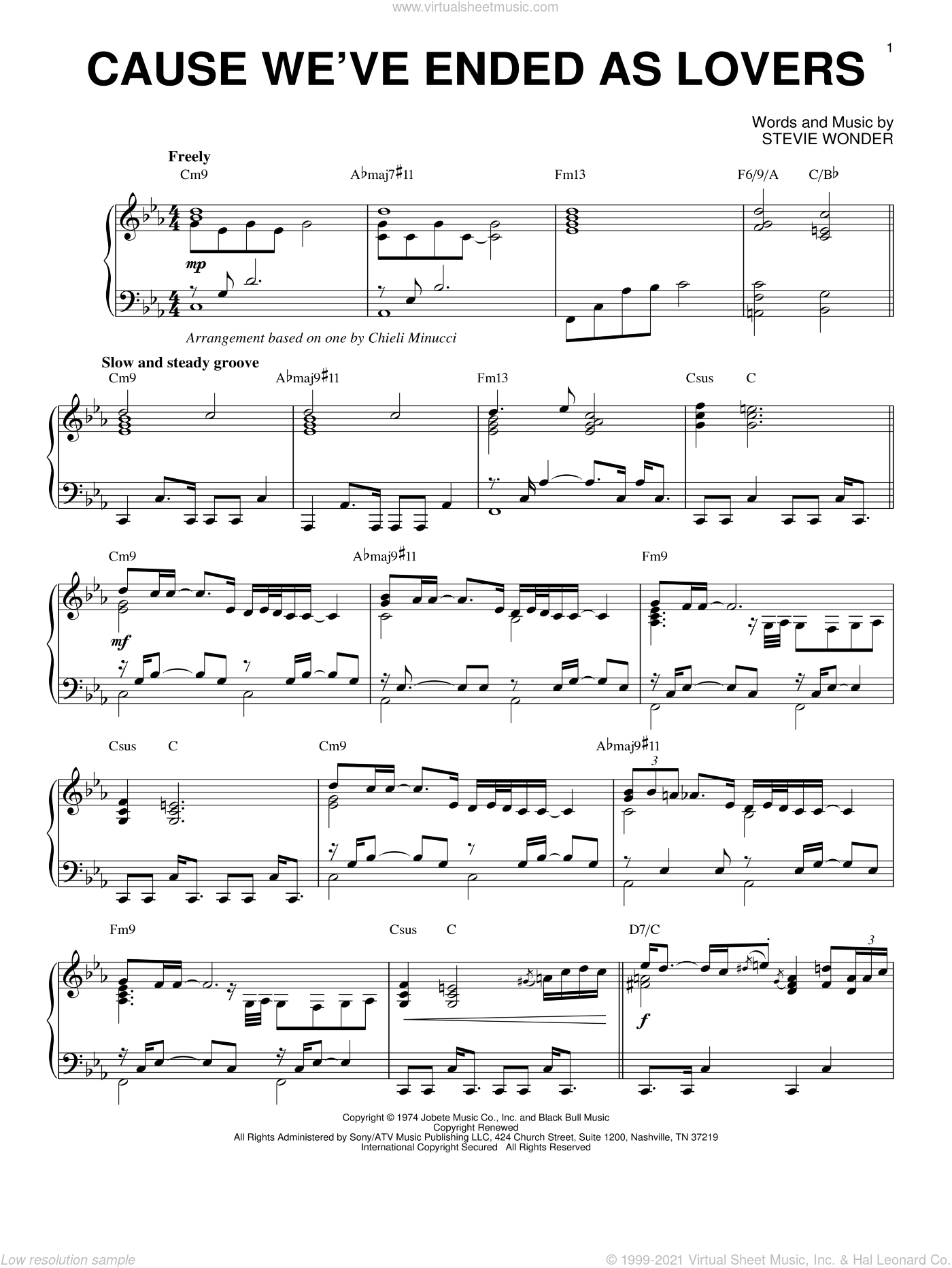 Cause We've Ended As Lovers sheet music for piano solo by Jeff Beck and Stevie Wonder, intermediate skill level
